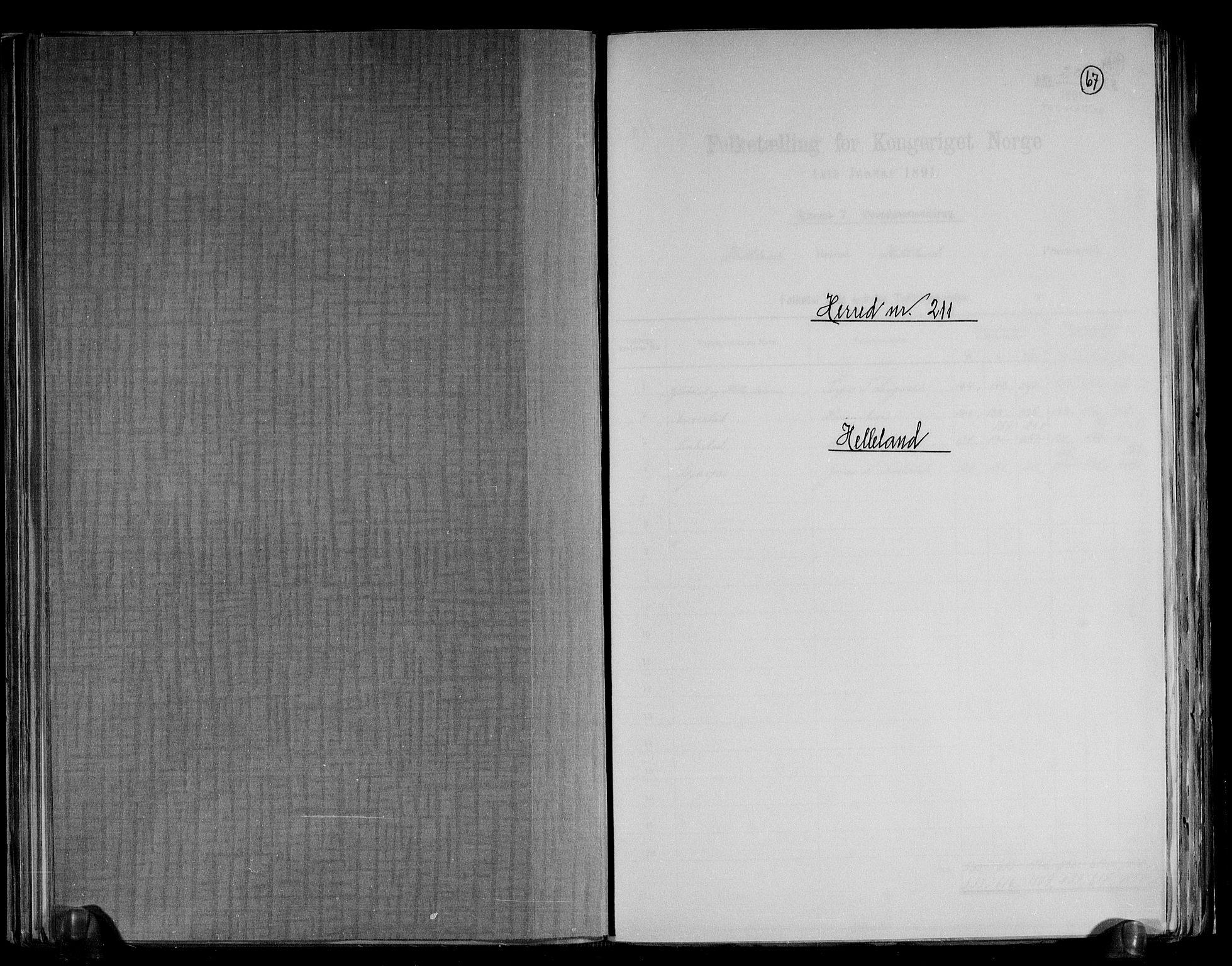 RA, Folketelling 1891 for 1115 Helleland herred, 1891, s. 1