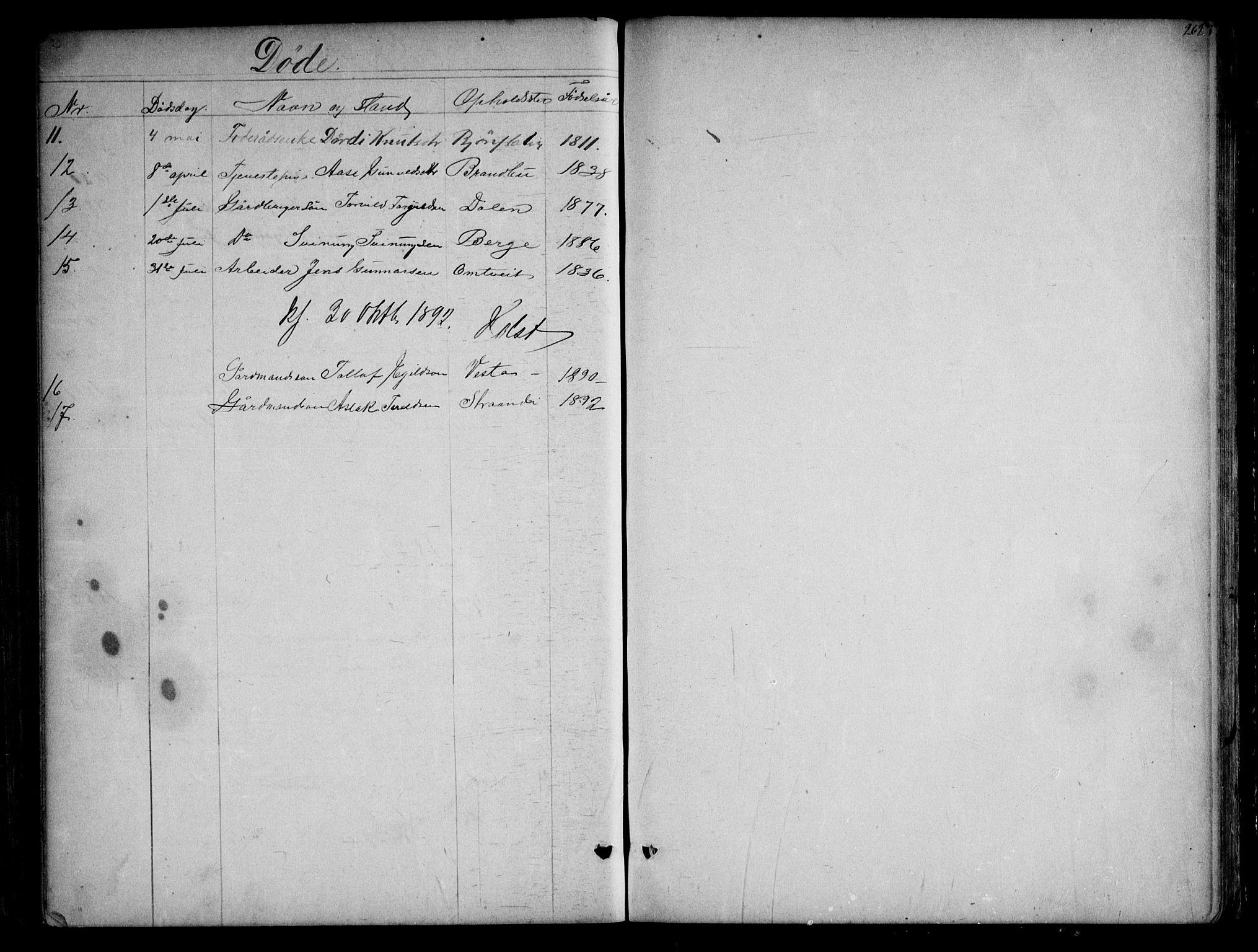 SAKO, Kviteseid kirkebøker, G/Gb/L0002: Klokkerbok nr. II 2, 1850-1892, s. 262