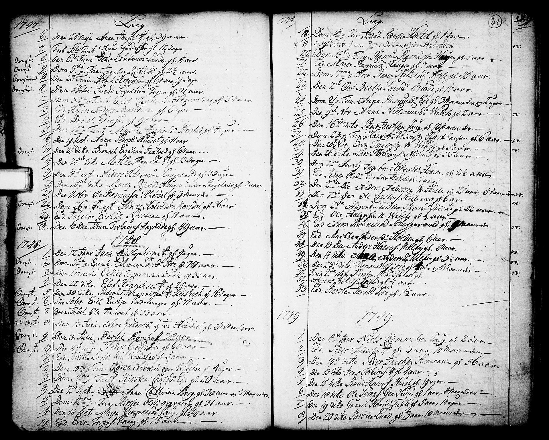 SAKO, Holla kirkebøker, F/Fa/L0001: Ministerialbok nr. 1, 1717-1779, s. 214