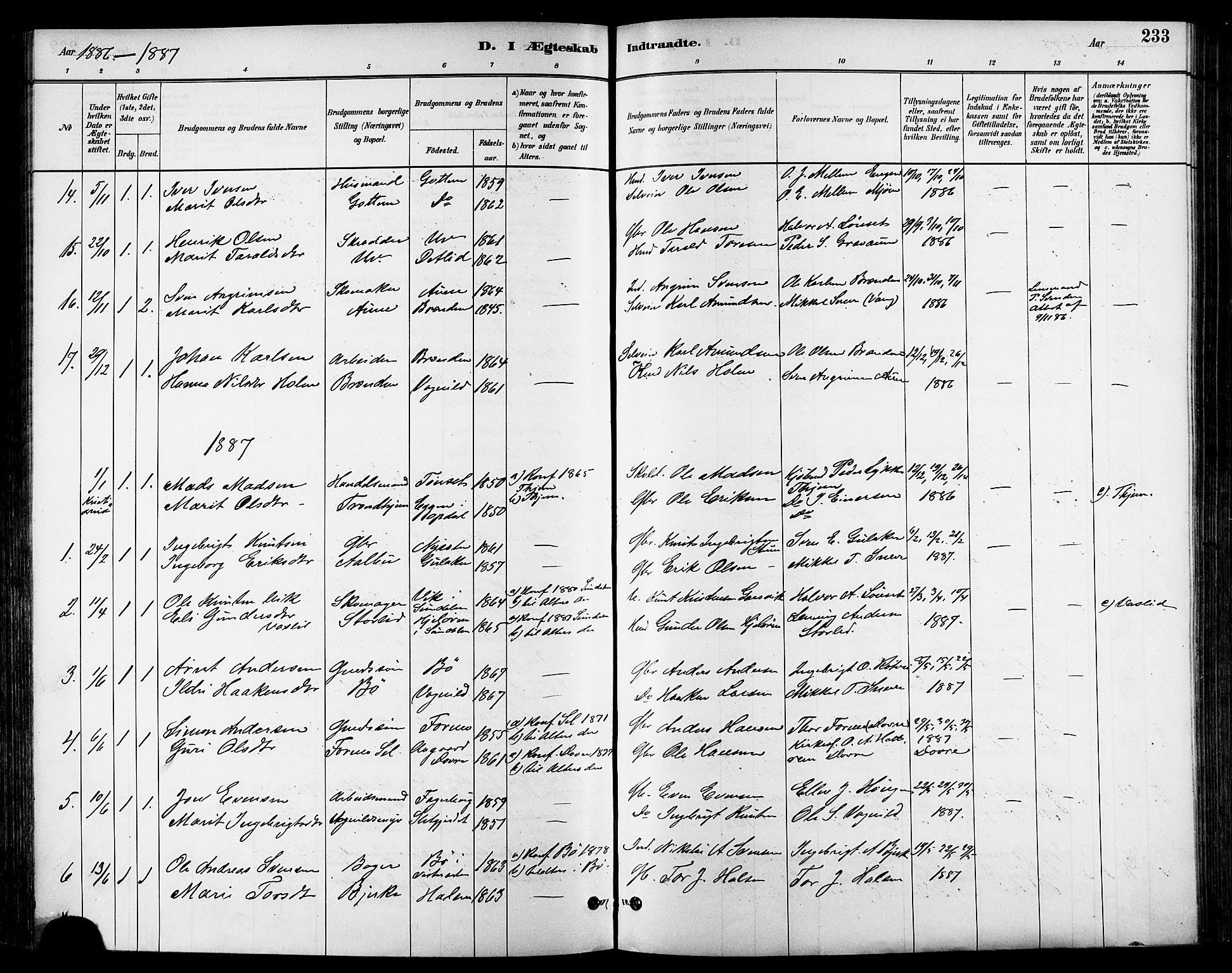 SAT, Ministerialprotokoller, klokkerbøker og fødselsregistre - Sør-Trøndelag, 678/L0901: Ministerialbok nr. 678A10, 1881-1894, s. 233