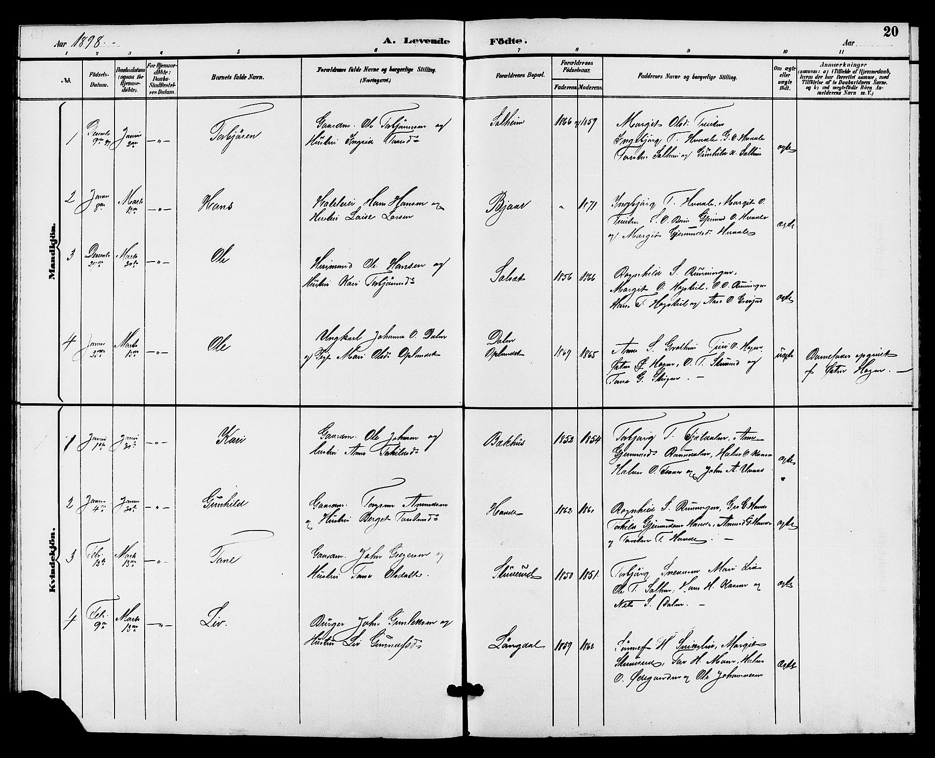 SAKO, Hjartdal kirkebøker, G/Gc/L0003: Klokkerbok nr. III 3, 1890-1907, s. 20