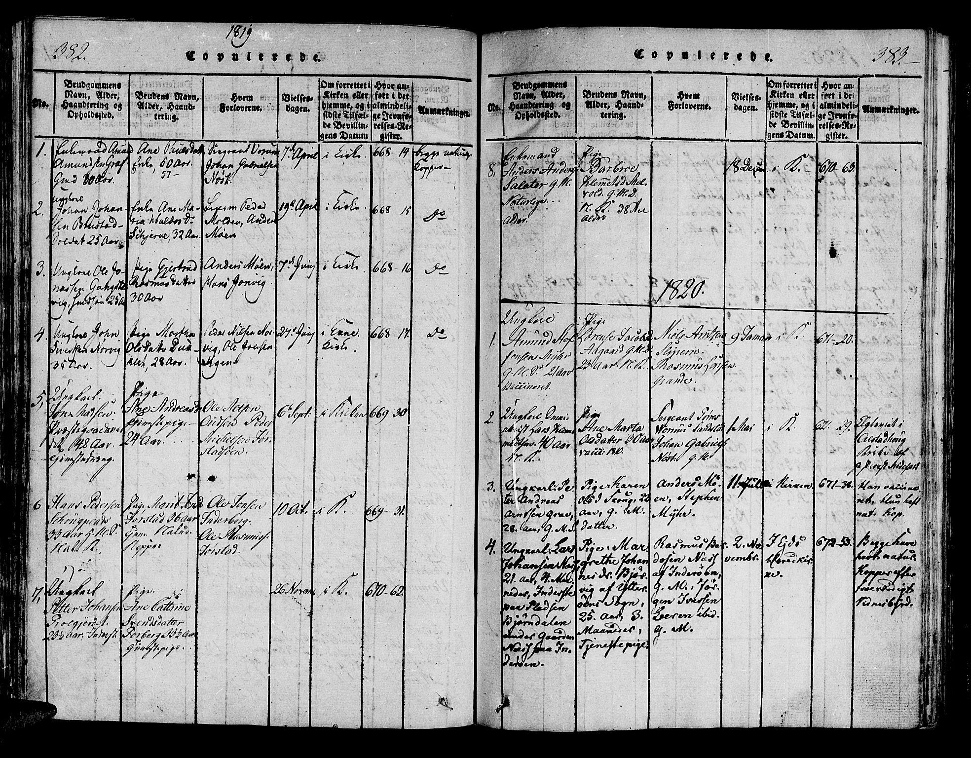 SAT, Ministerialprotokoller, klokkerbøker og fødselsregistre - Nord-Trøndelag, 722/L0217: Ministerialbok nr. 722A04, 1817-1842, s. 382-383
