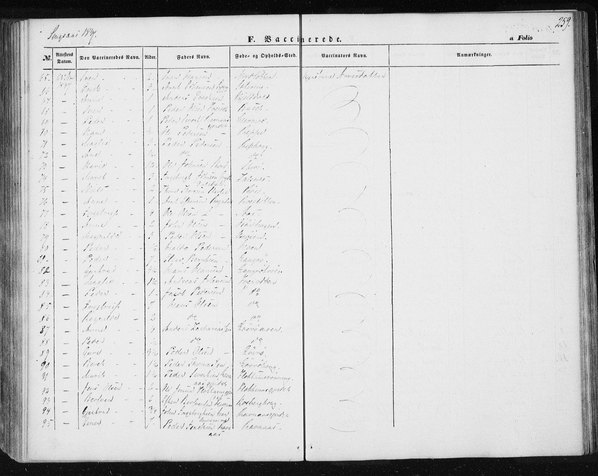SAT, Ministerialprotokoller, klokkerbøker og fødselsregistre - Sør-Trøndelag, 685/L0964: Ministerialbok nr. 685A06 /2, 1846-1859, s. 259