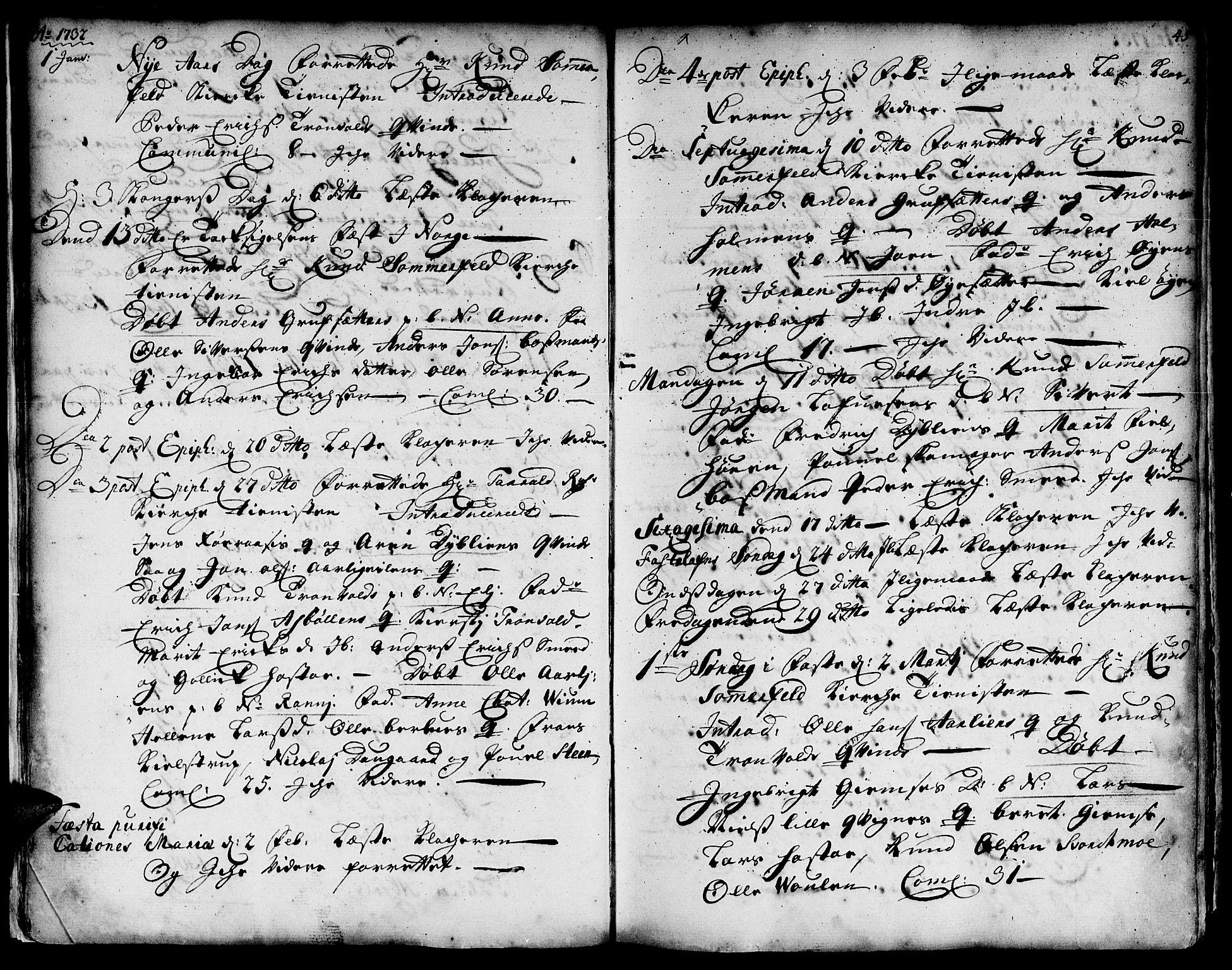 SAT, Ministerialprotokoller, klokkerbøker og fødselsregistre - Sør-Trøndelag, 671/L0839: Ministerialbok nr. 671A01, 1730-1755, s. 44-45
