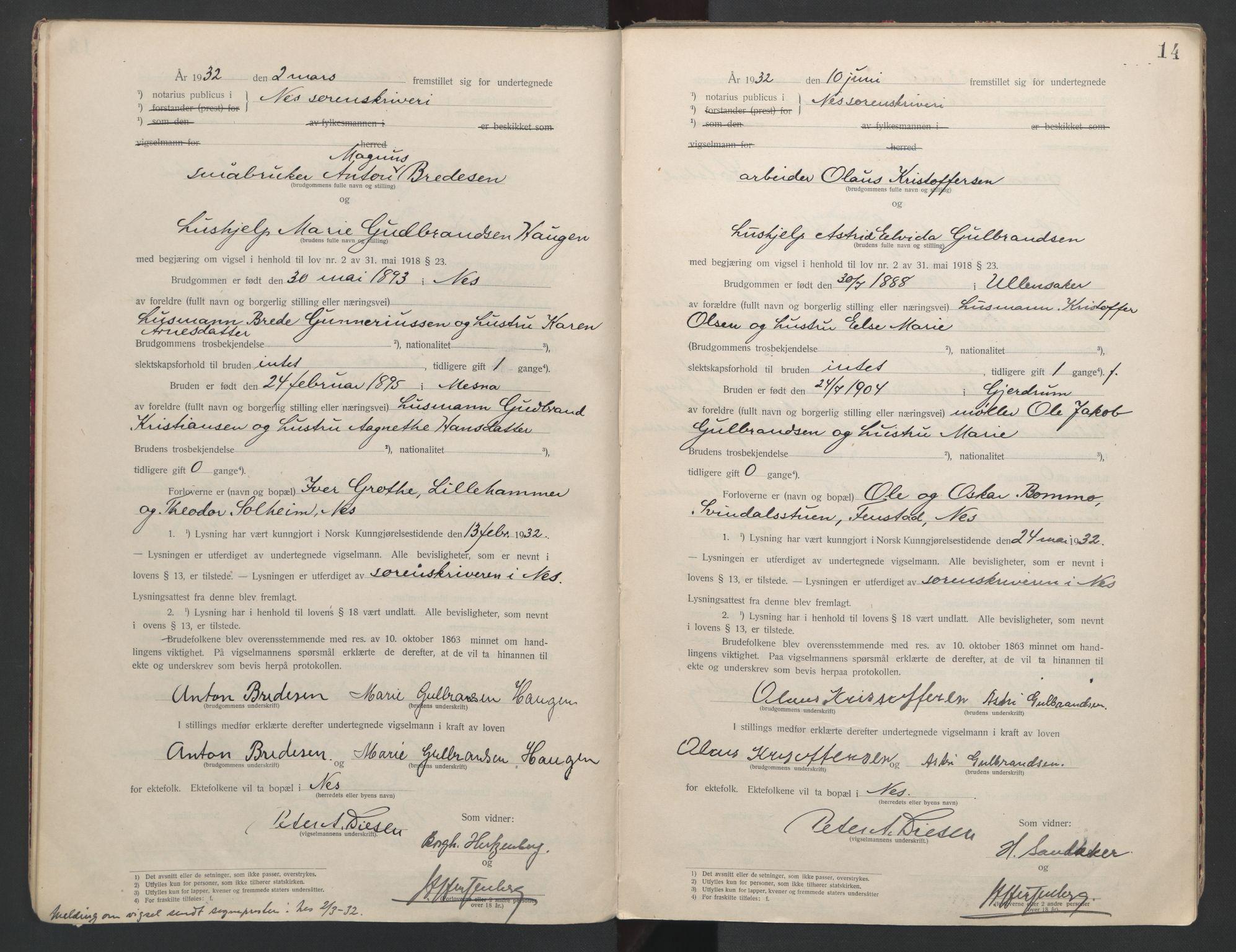 SAO, Nes tingrett, L/Lc/Lca/L0001: Vigselbok, 1920-1943, s. 14