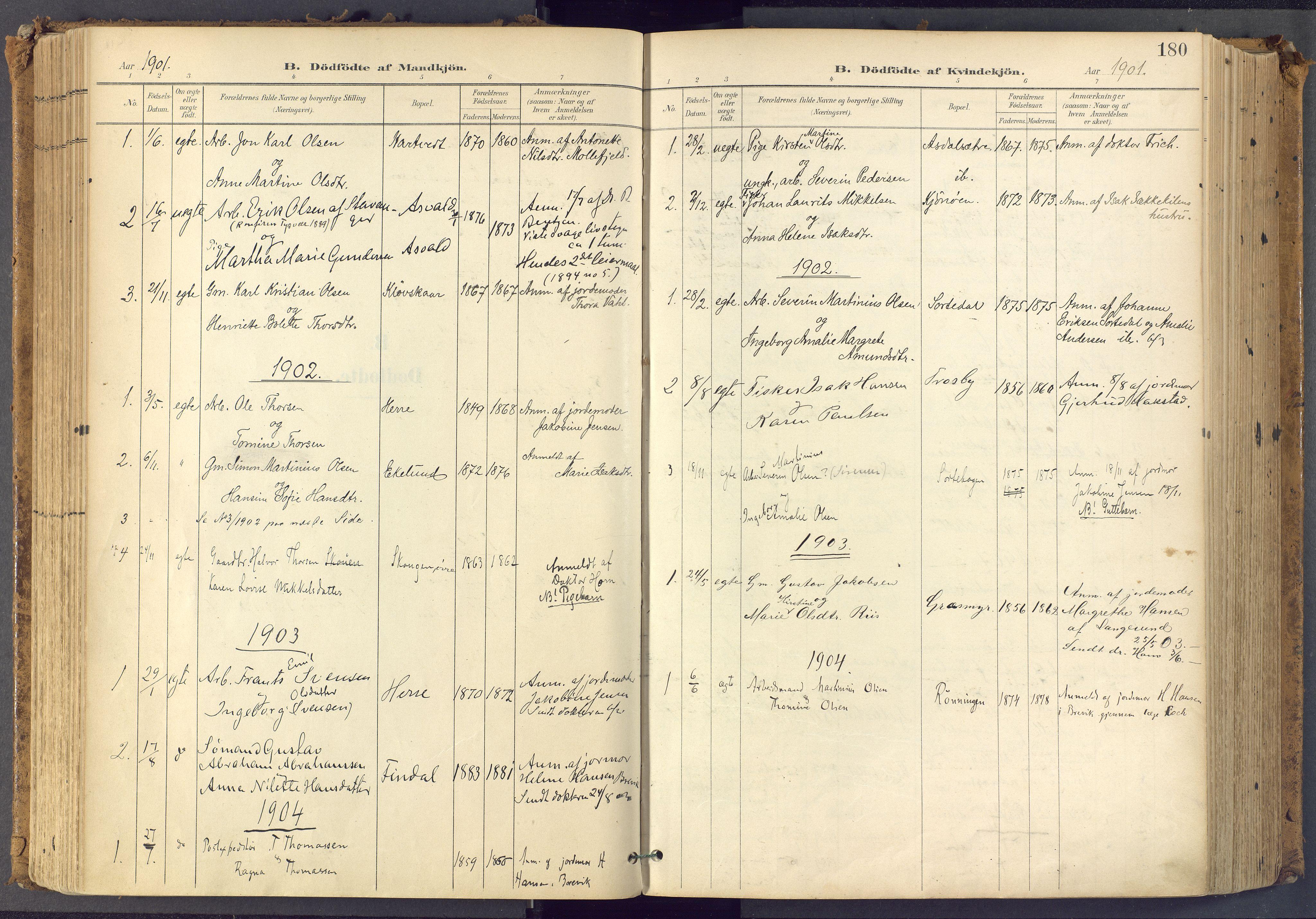 SAKO, Bamble kirkebøker, F/Fa/L0009: Ministerialbok nr. I 9, 1901-1917, s. 180
