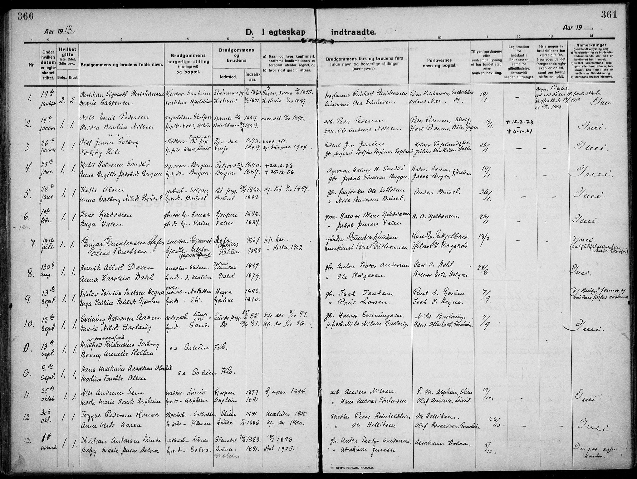 SAKO, Solum kirkebøker, F/Fb/L0004: Ministerialbok nr. II 4, 1913-1924, s. 360-361