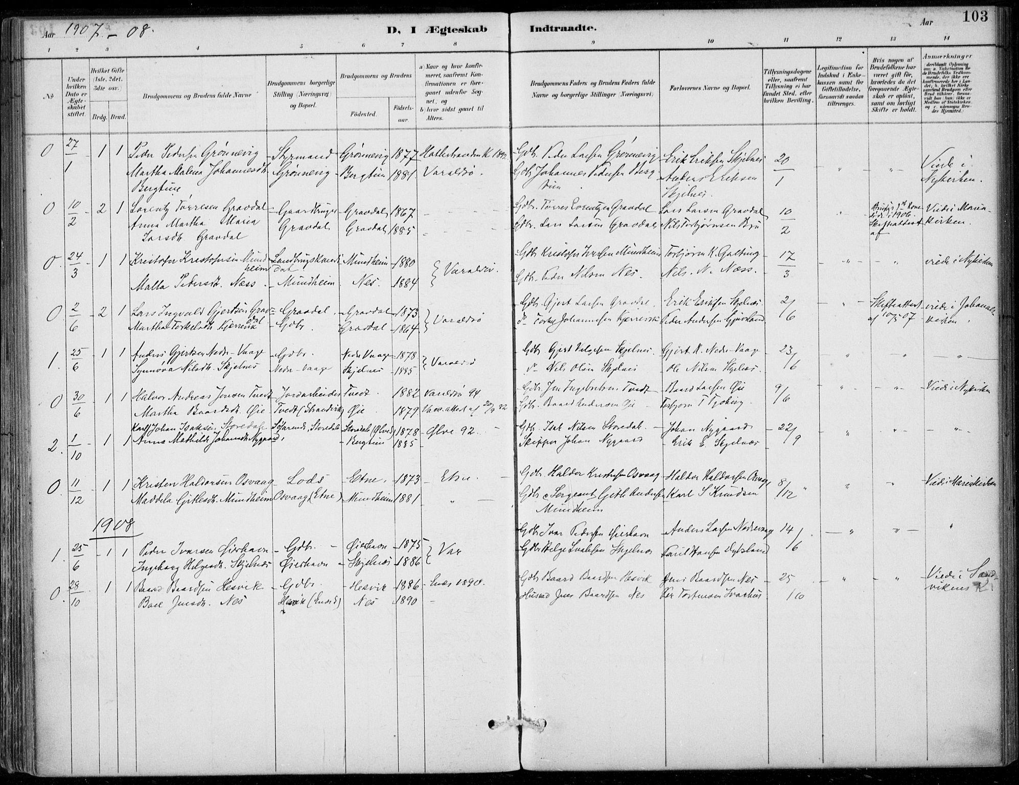 SAB, Strandebarm sokneprestembete, H/Haa: Ministerialbok nr. D  1, 1886-1912, s. 103