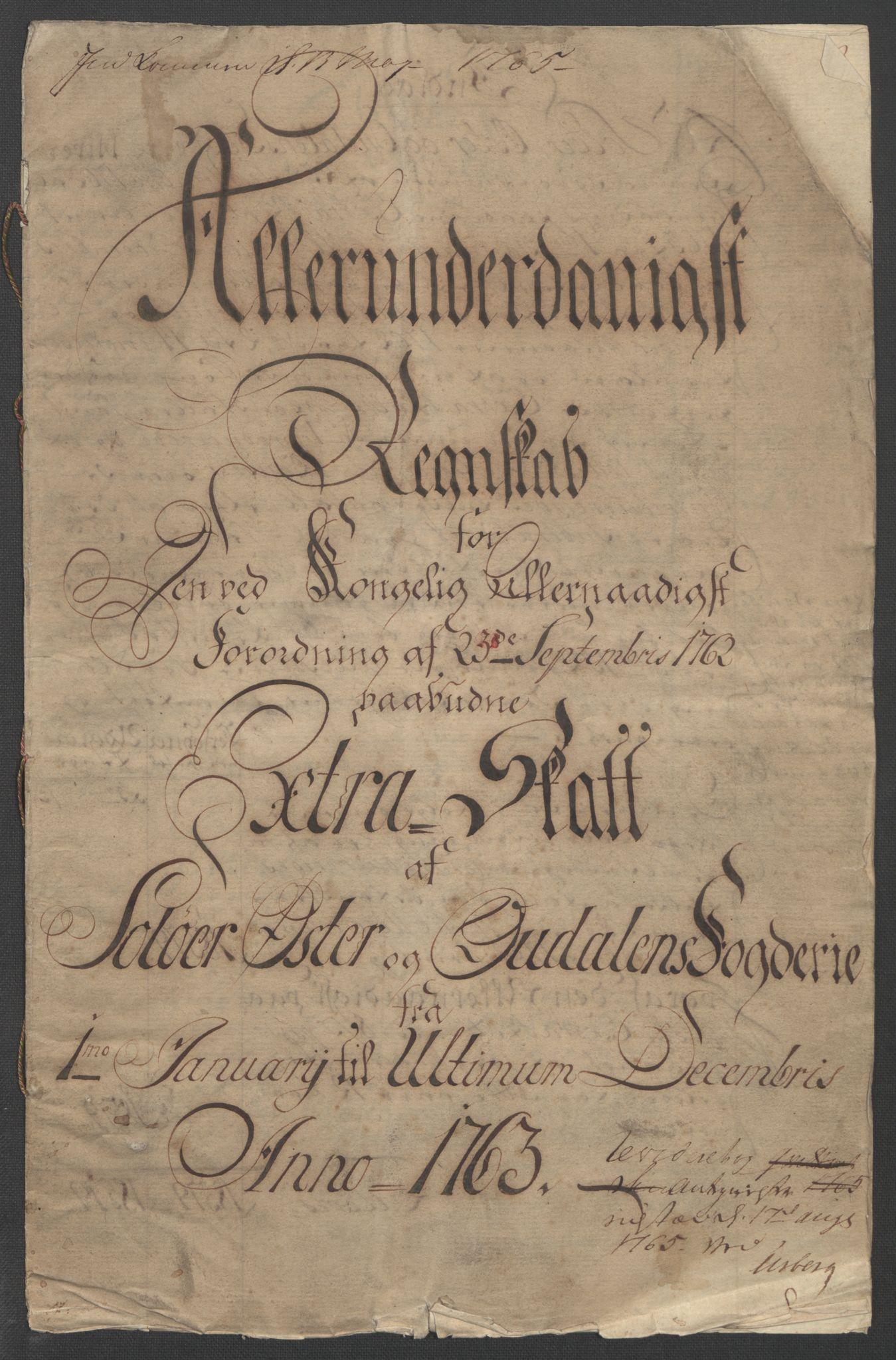 RA, Rentekammeret inntil 1814, Reviderte regnskaper, Fogderegnskap, R14/L0959: Ekstraskatten Solør og Odal, 1763-1770, s. 5