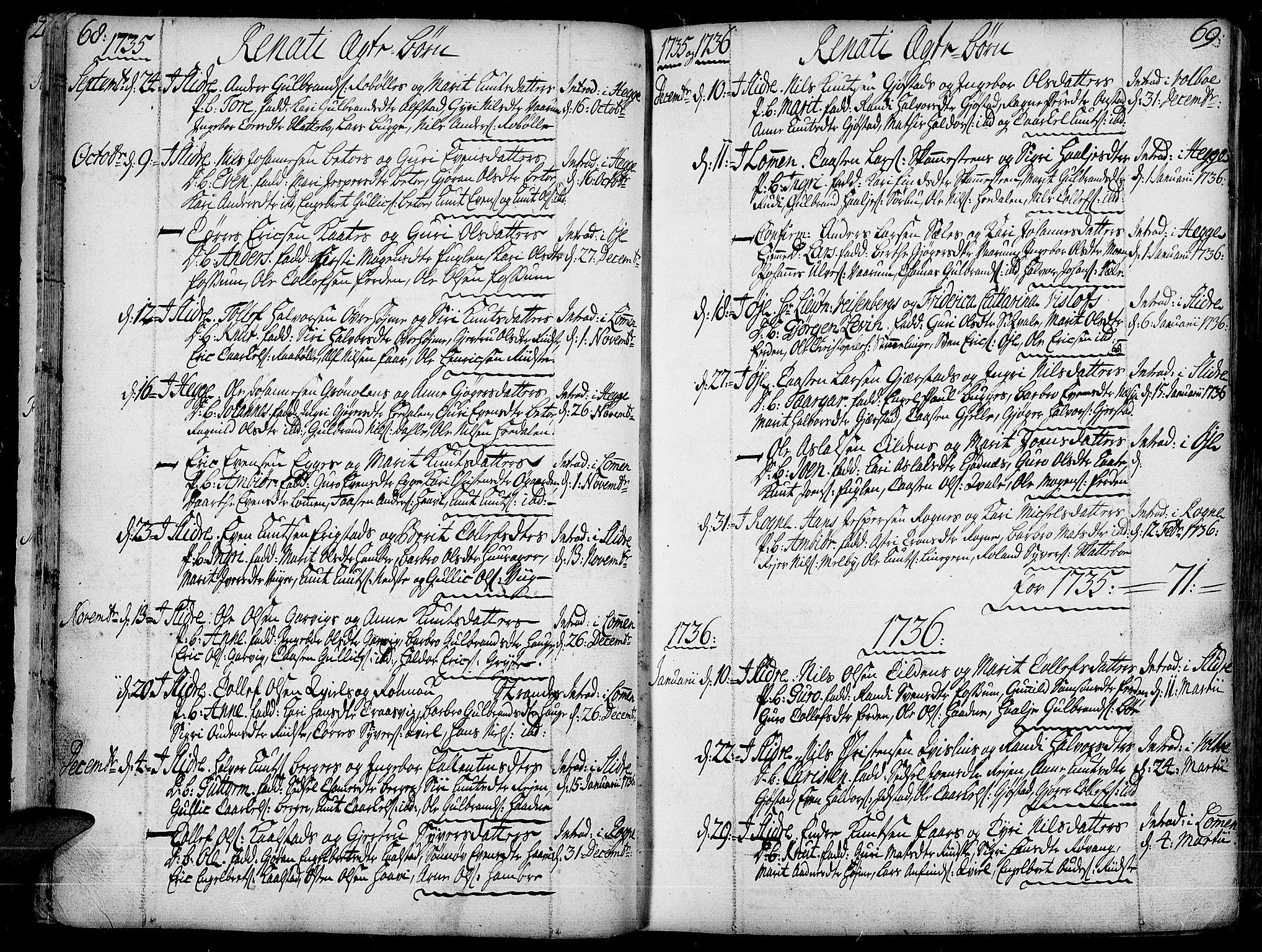 SAH, Slidre prestekontor, Ministerialbok nr. 1, 1724-1814, s. 68-69