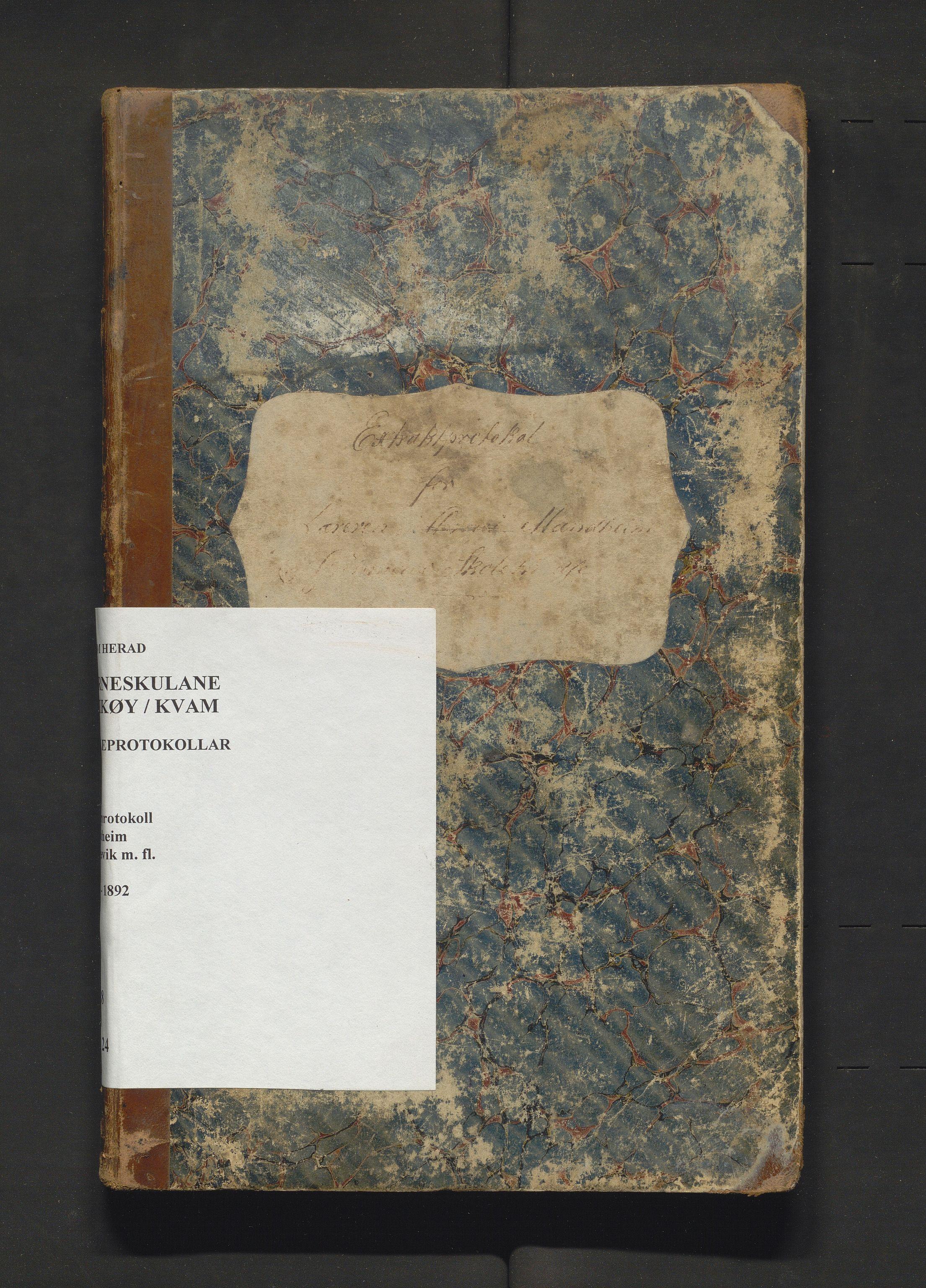 IKAH, Kvam herad. Barneskulane, F/Fa/L0024: Skuleprotokoll for Oma, Haukanes, Mundheim og Grønnevig krinsar, 1874-1892