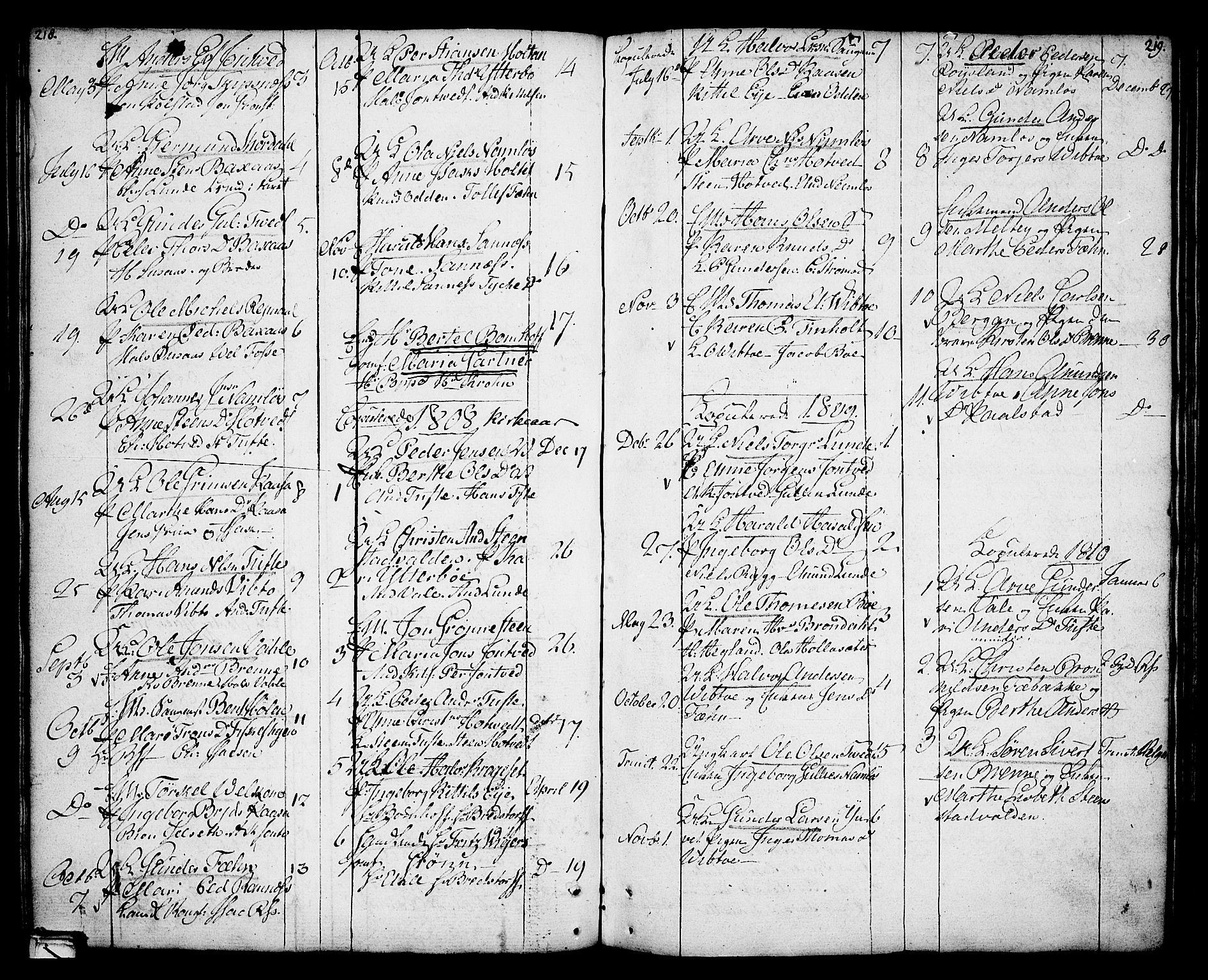 SAKO, Holla kirkebøker, F/Fa/L0002: Ministerialbok nr. 2, 1779-1814, s. 218-219