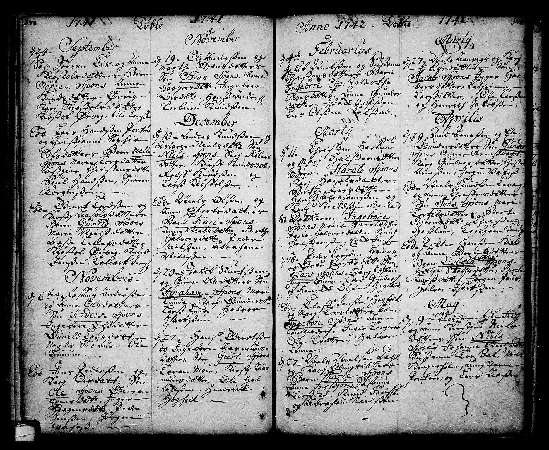 SAKO, Sannidal kirkebøker, F/Fa/L0001: Ministerialbok nr. 1, 1702-1766, s. 172-173