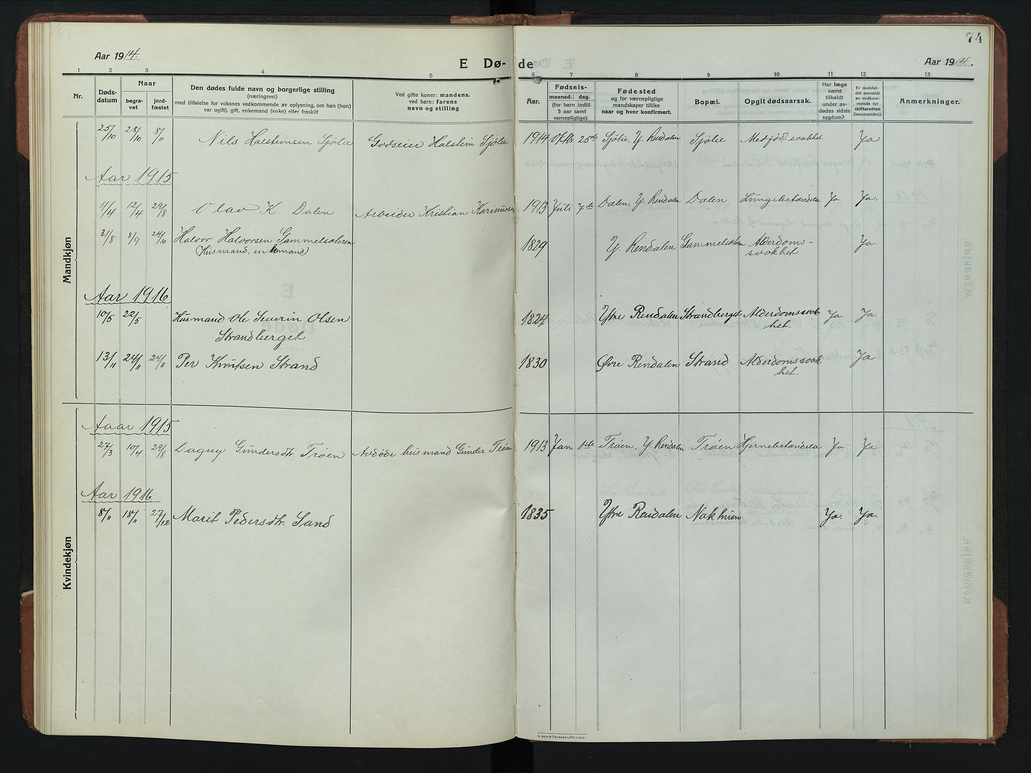 SAH, Rendalen prestekontor, H/Ha/Hab/L0008: Klokkerbok nr. 8, 1914-1948, s. 74