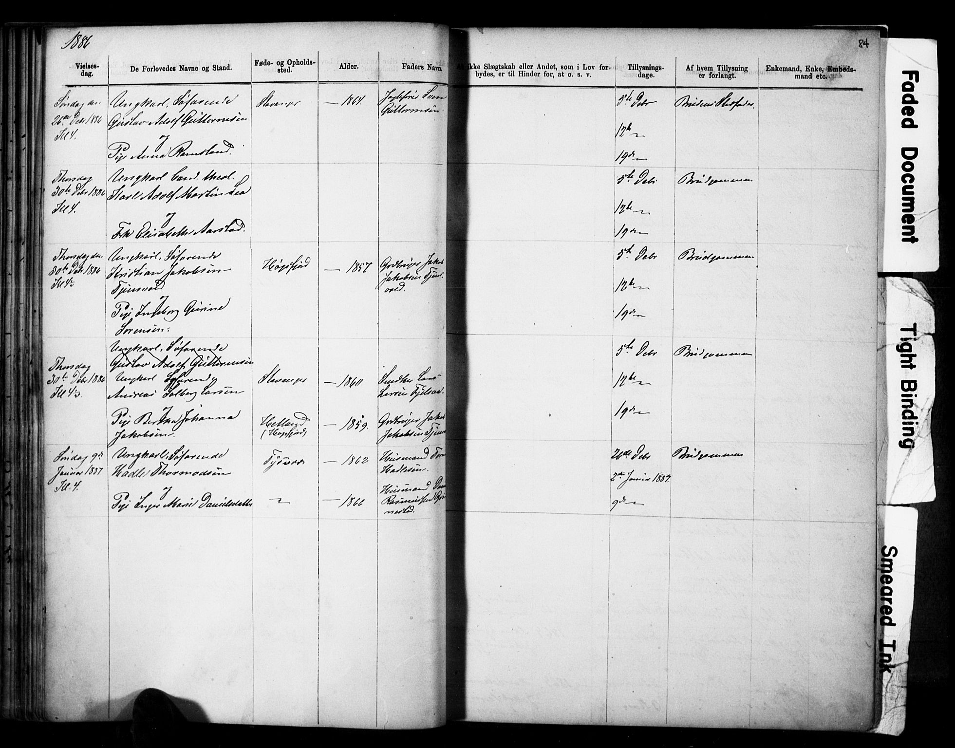 SAST, Domkirken sokneprestkontor, 30/30BB/L0014: Klokkerbok nr. B 14, 1875-1902, s. 84