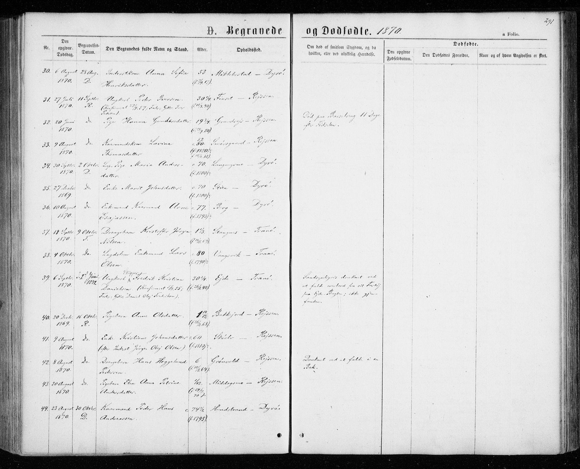 SATØ, Tranøy sokneprestkontor, I/Ia/Iaa/L0008kirke: Ministerialbok nr. 8, 1867-1877, s. 291