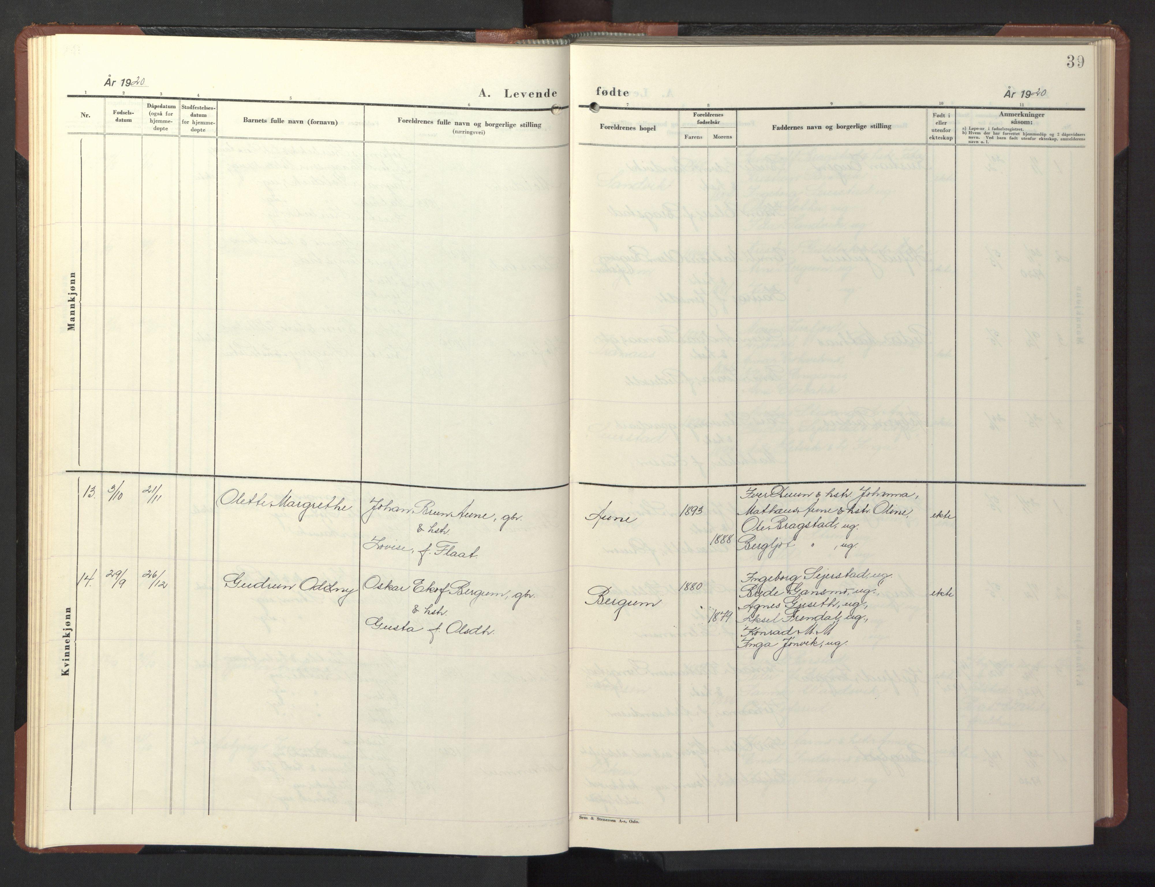 SAT, Ministerialprotokoller, klokkerbøker og fødselsregistre - Nord-Trøndelag, 773/L0625: Klokkerbok nr. 773C01, 1910-1952, s. 39