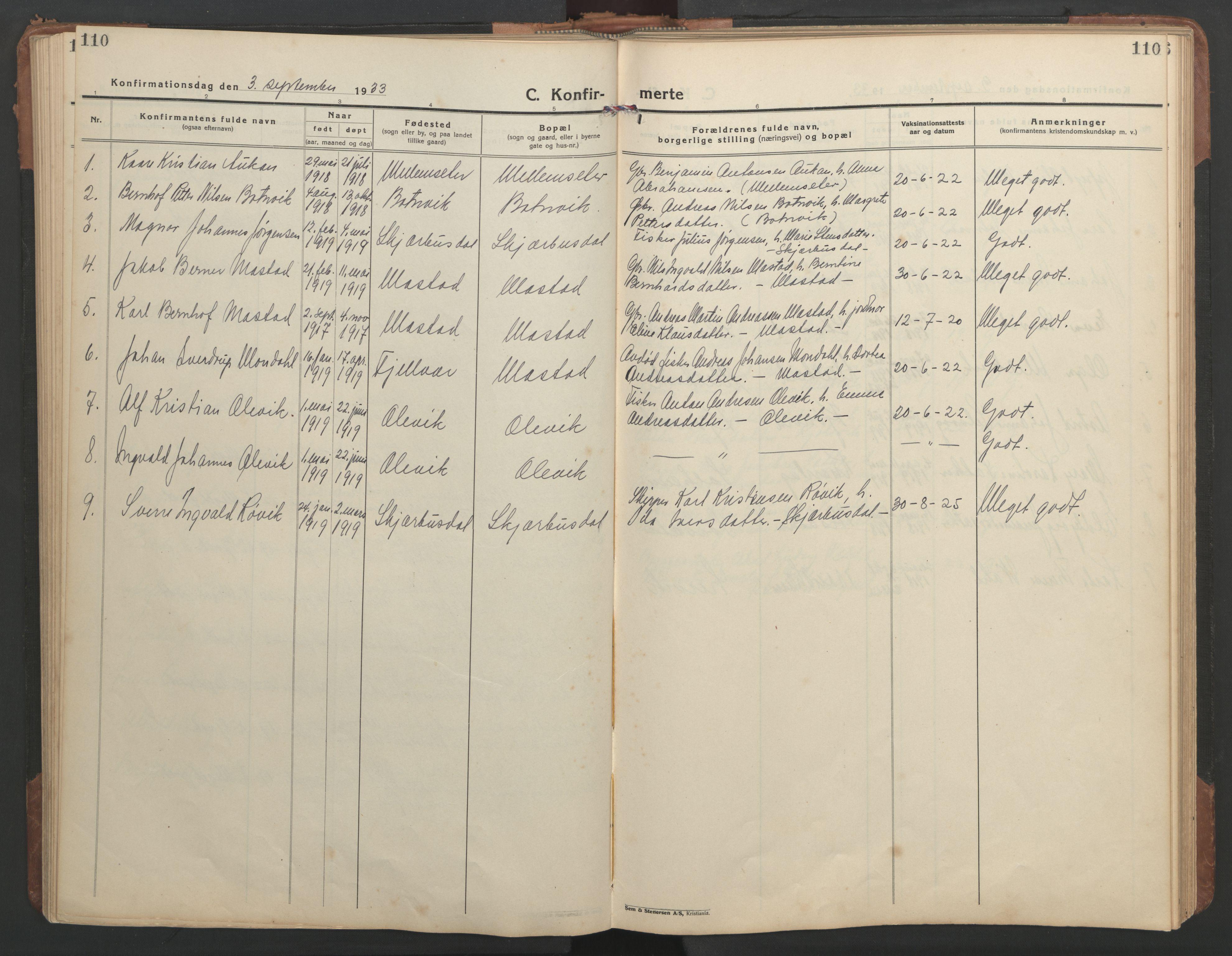 SAT, Ministerialprotokoller, klokkerbøker og fødselsregistre - Sør-Trøndelag, 638/L0569: Klokkerbok nr. 638C01, 1923-1961, s. 110