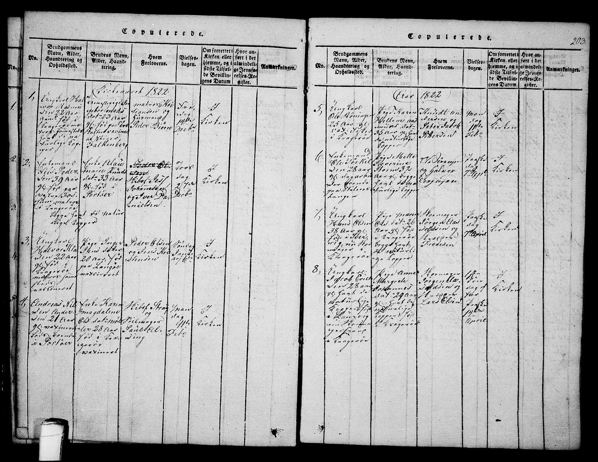 SAKO, Kragerø kirkebøker, F/Fa/L0004: Ministerialbok nr. 4, 1814-1831, s. 203