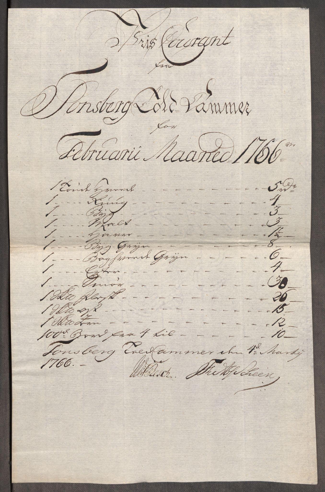 RA, Rentekammeret inntil 1814, Realistisk ordnet avdeling, Oe/L0008: [Ø1]: Priskuranter, 1764-1768, s. 596