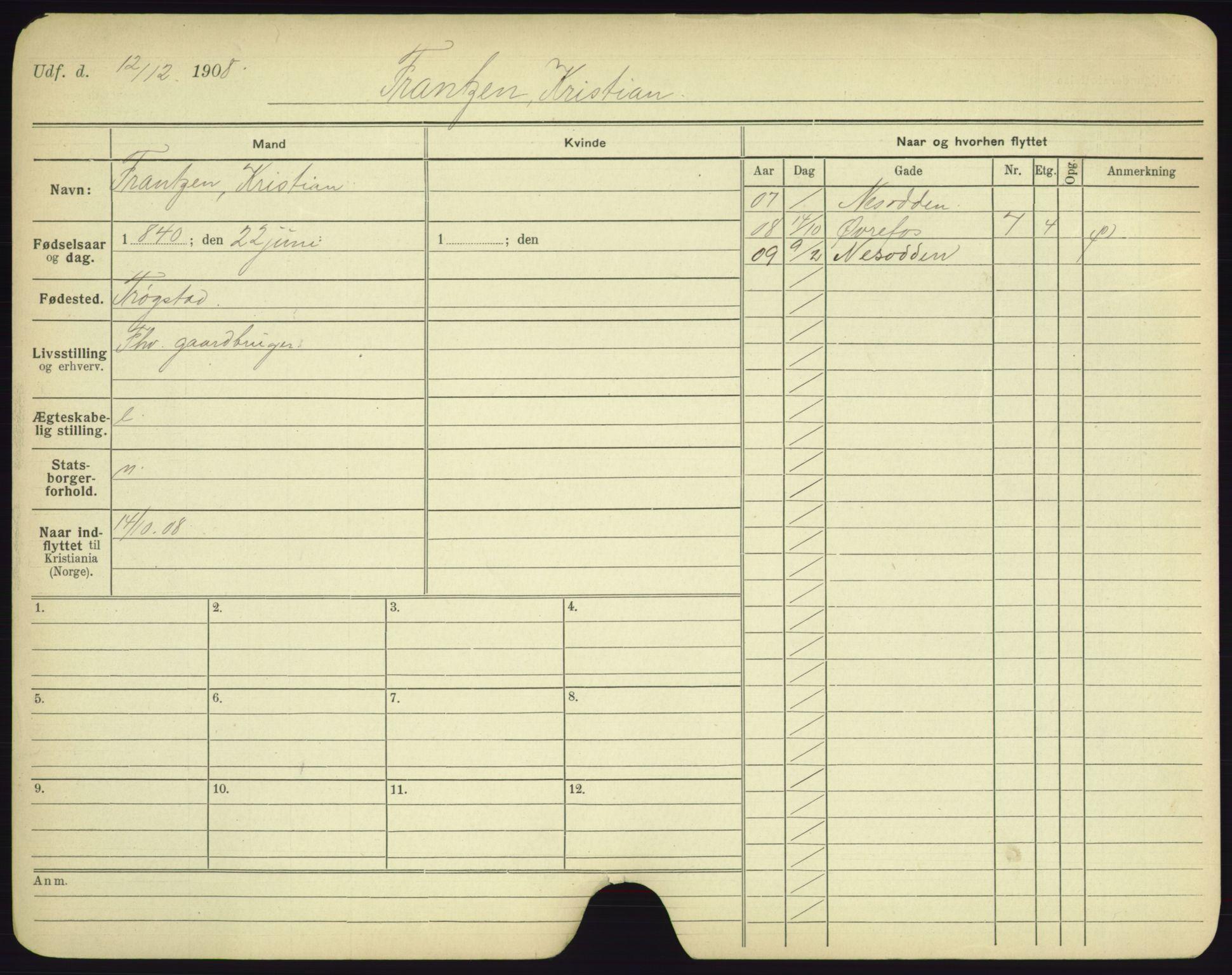 SAO, Oslo folkeregister, Registerkort, F/Fa/Fac/L0003: Menn, 1906-1914, s. 251a