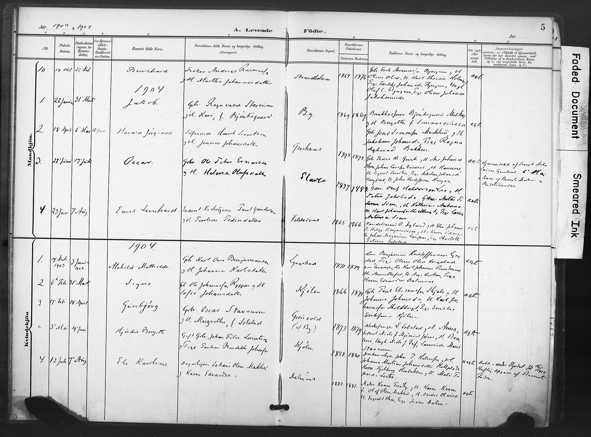 SAT, Ministerialprotokoller, klokkerbøker og fødselsregistre - Nord-Trøndelag, 719/L0179: Ministerialbok nr. 719A02, 1901-1923, s. 5