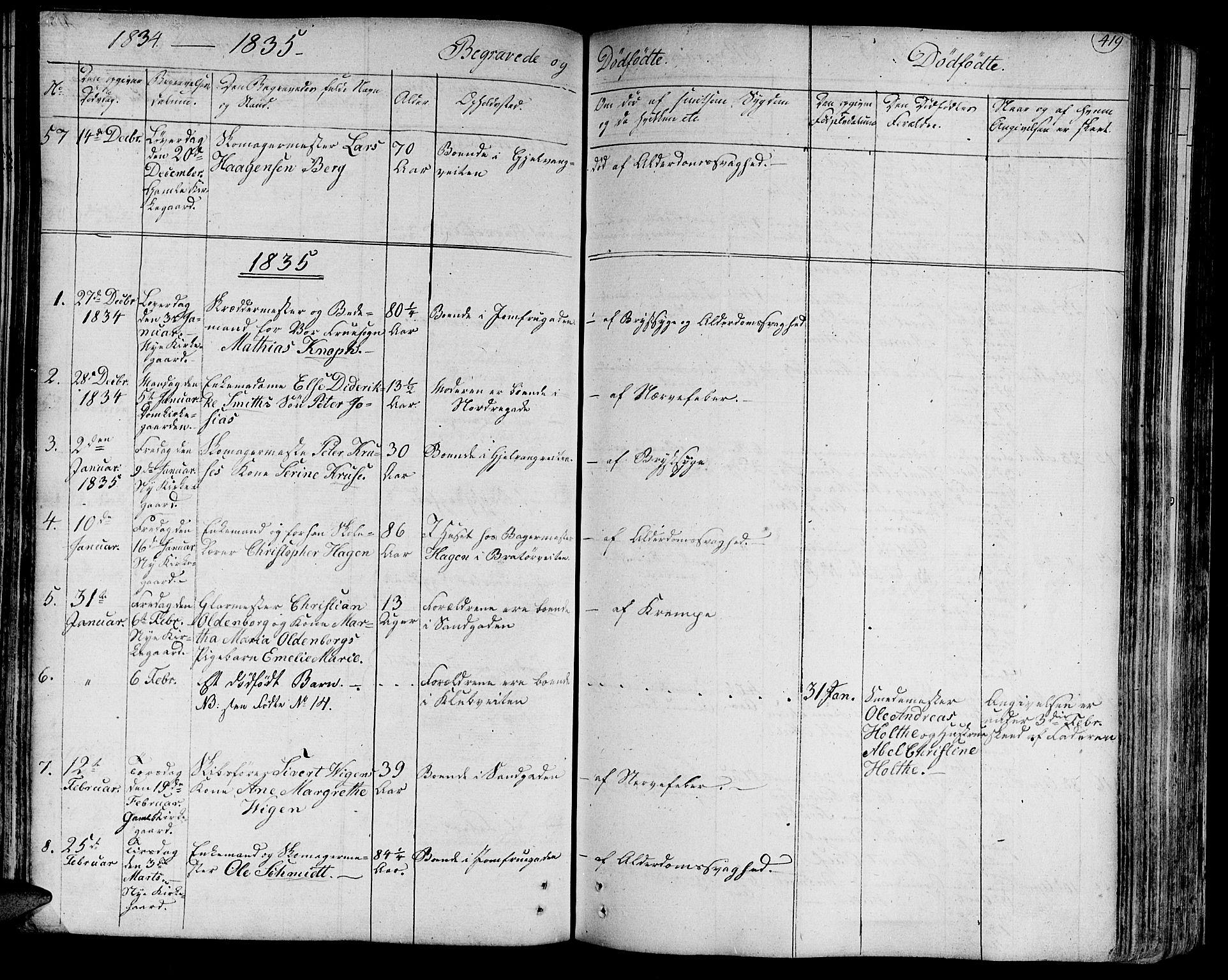 SAT, Ministerialprotokoller, klokkerbøker og fødselsregistre - Sør-Trøndelag, 602/L0109: Ministerialbok nr. 602A07, 1821-1840, s. 419
