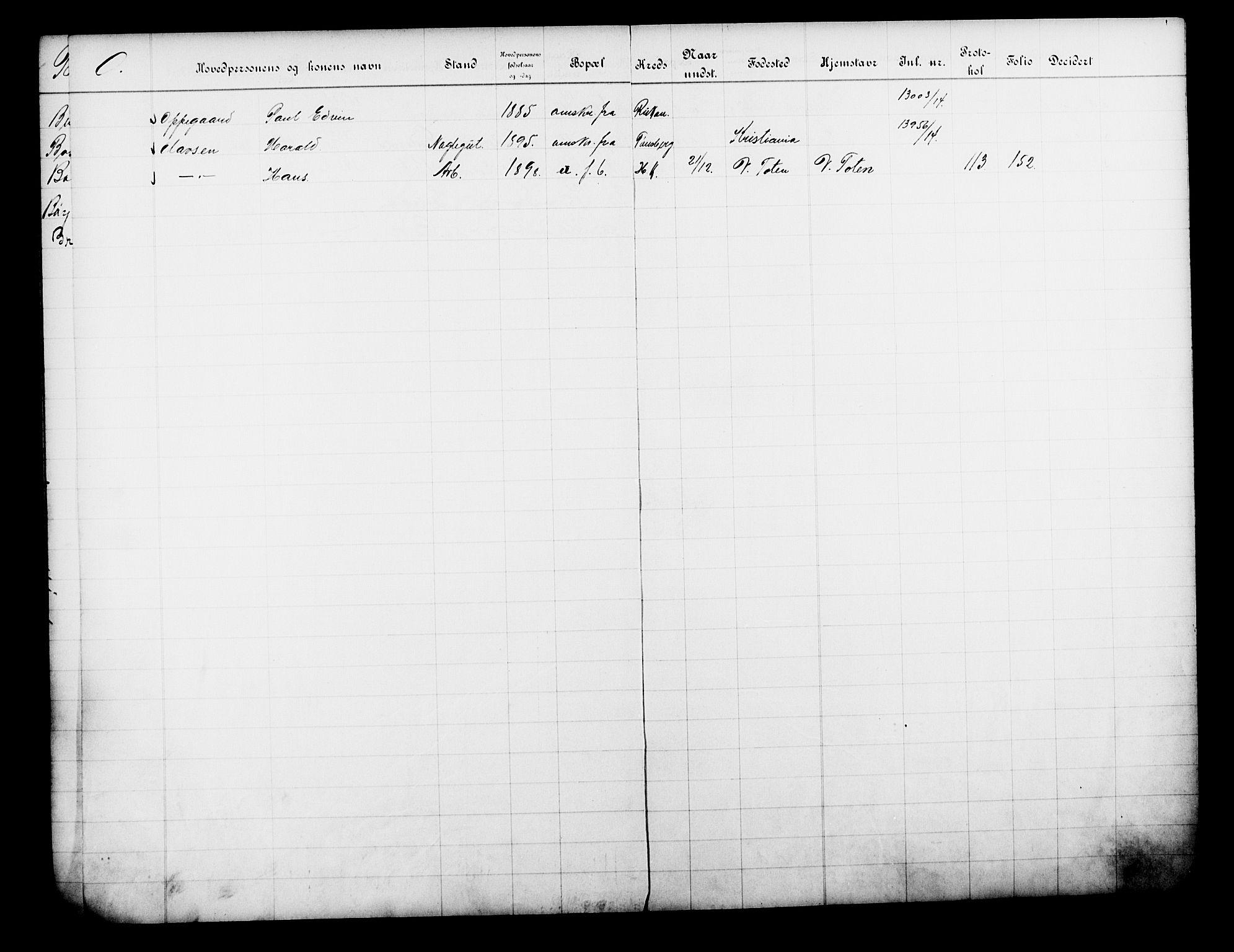 OBA, Fattigvesenet, Fb/L0033: Hjemstavnsregister, 1914, s. 256