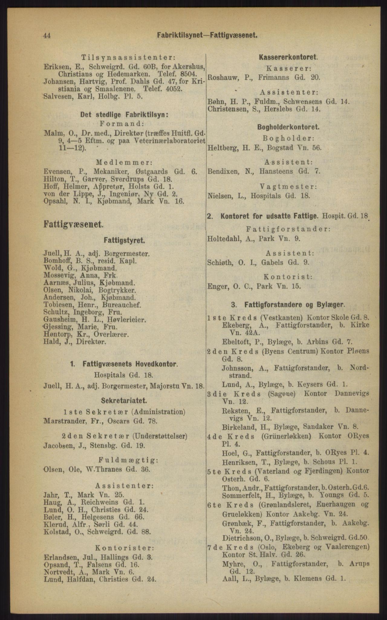 RA, Kristiania adressebok (publikasjon)*, 1903, s. 44