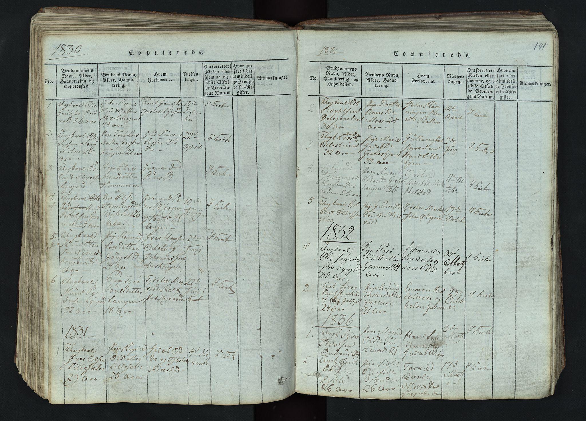 SAH, Lom prestekontor, L/L0002: Klokkerbok nr. 2, 1815-1844, s. 191