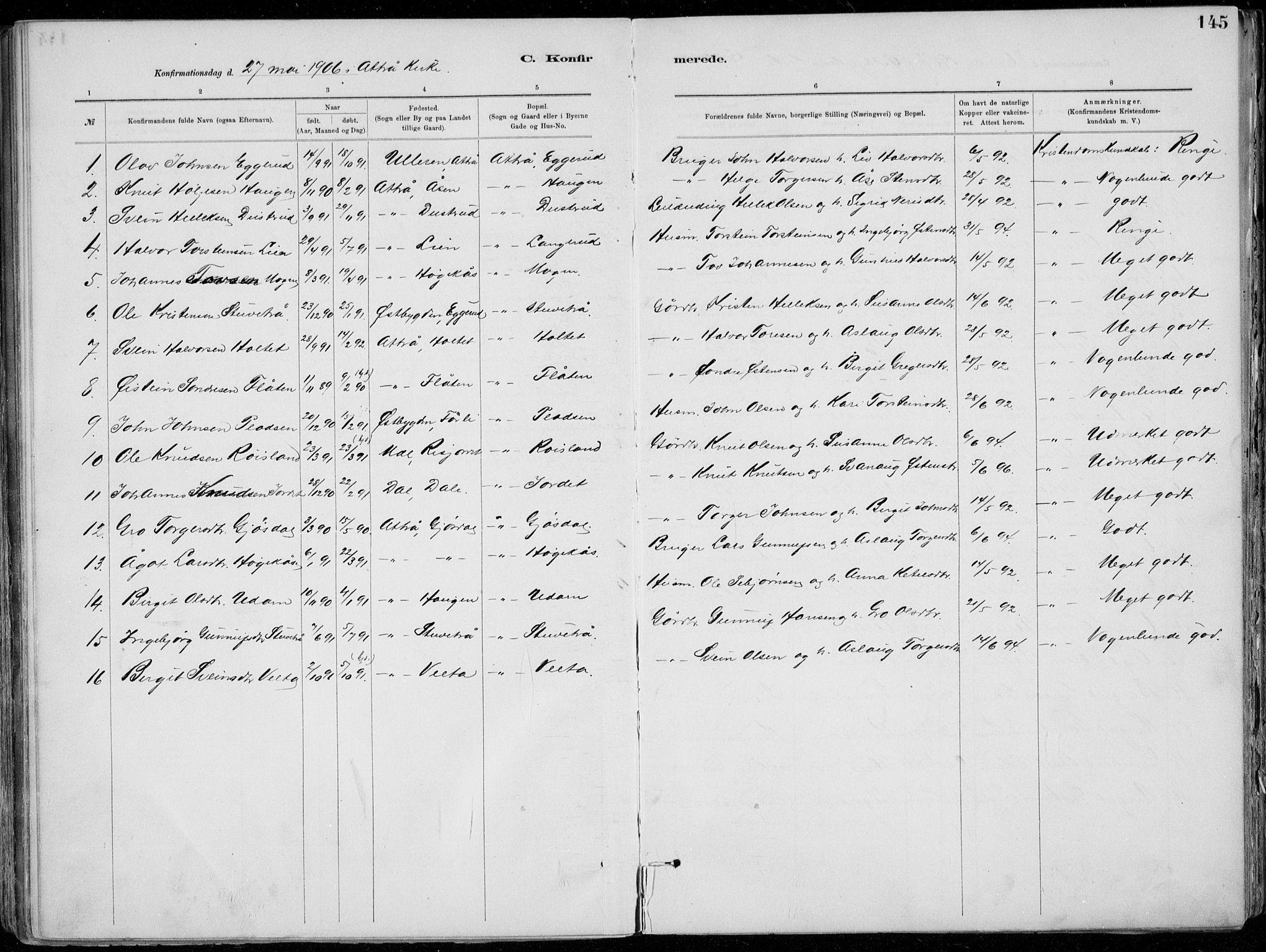 SAKO, Tinn kirkebøker, F/Fa/L0007: Ministerialbok nr. I 7, 1878-1922, s. 145