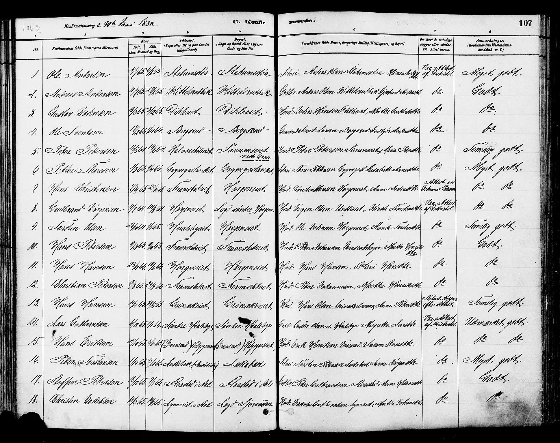 SAH, Gran prestekontor, Ministerialbok nr. 14, 1880-1889, s. 107