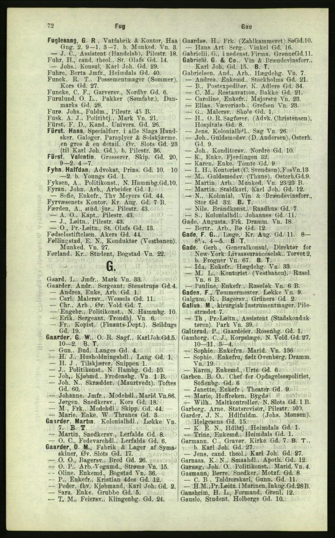 RA, Kristiania adressebok (publikasjon)*, 1884, s. 72