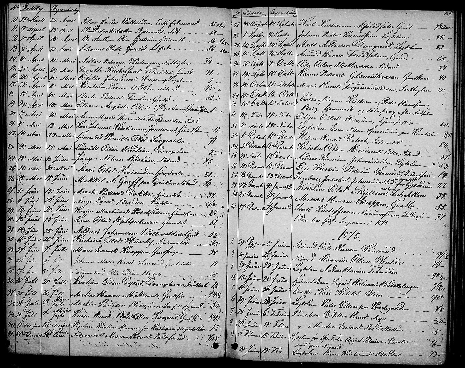 SAH, Vestre Toten prestekontor, Klokkerbok nr. 6, 1870-1887, s. 169