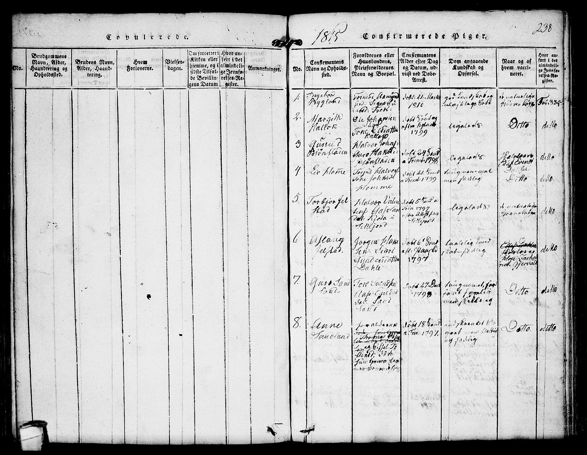 SAKO, Kviteseid kirkebøker, F/Fb/L0001: Ministerialbok nr. II 1, 1815-1836, s. 238