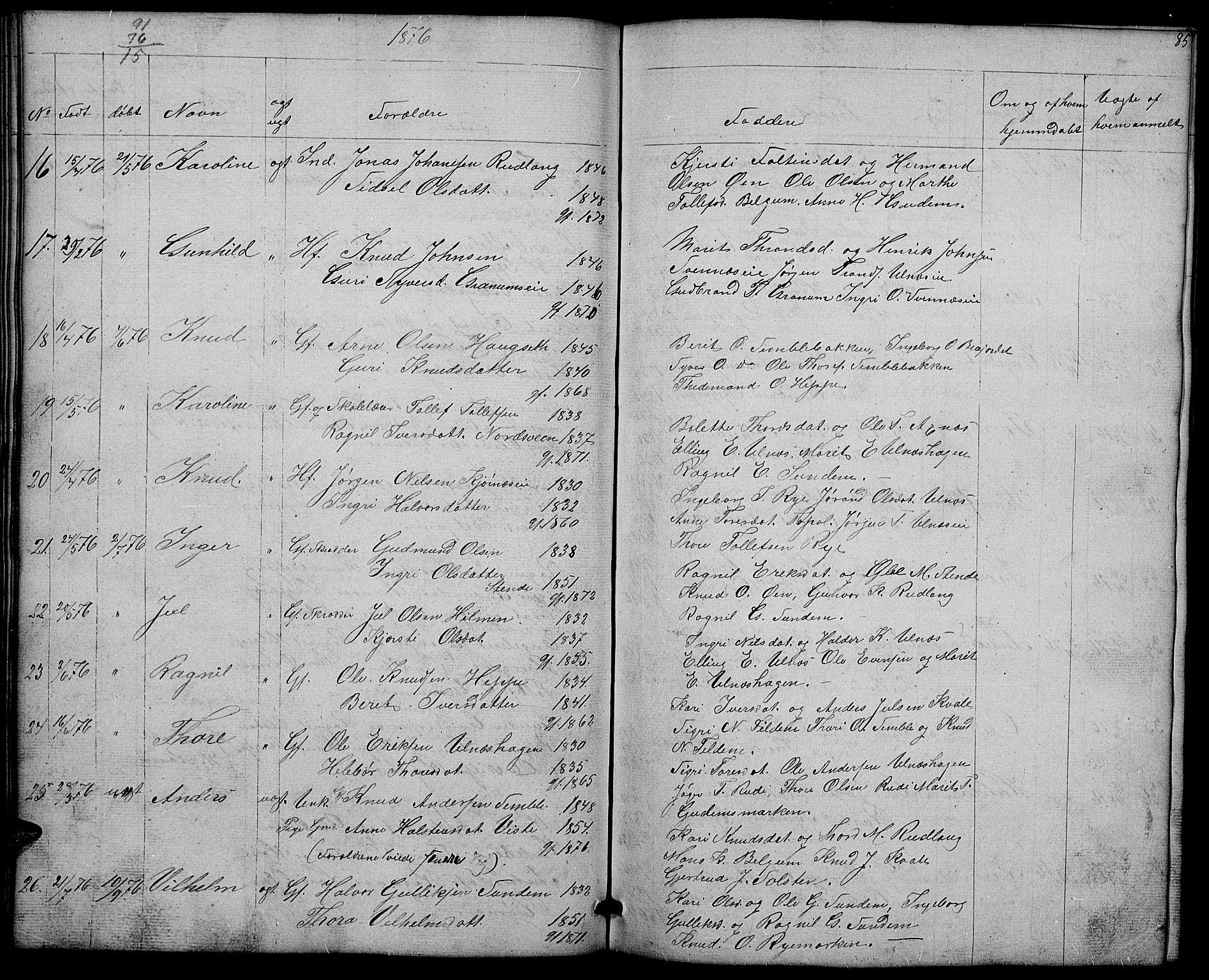 SAH, Nord-Aurdal prestekontor, Klokkerbok nr. 4, 1842-1882, s. 85