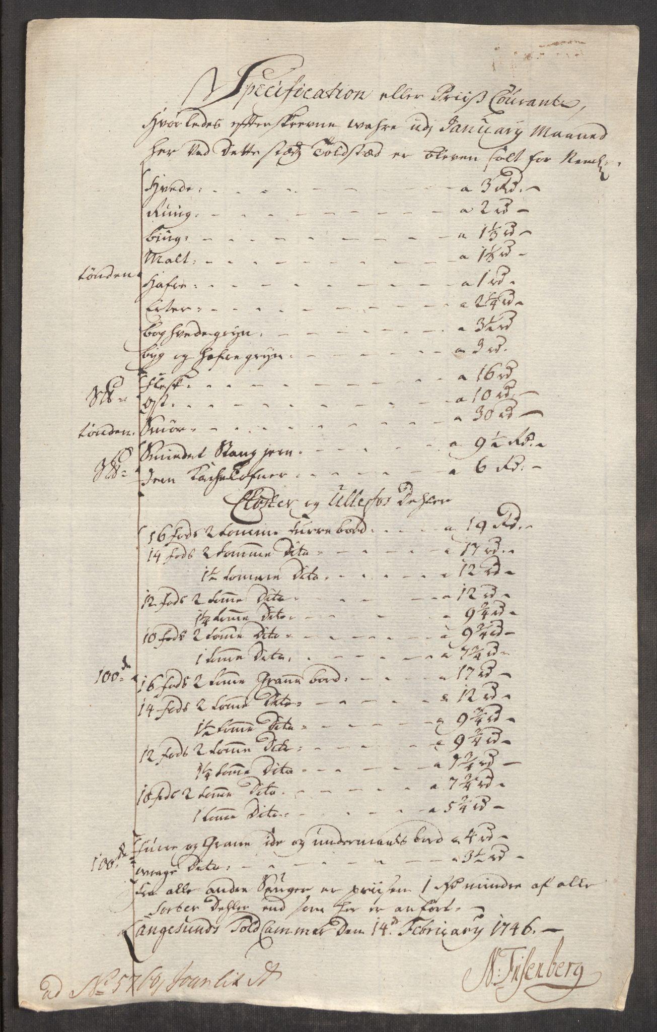RA, Rentekammeret inntil 1814, Realistisk ordnet avdeling, Oe/L0003: [Ø1]: Priskuranter, 1745-1748, s. 358