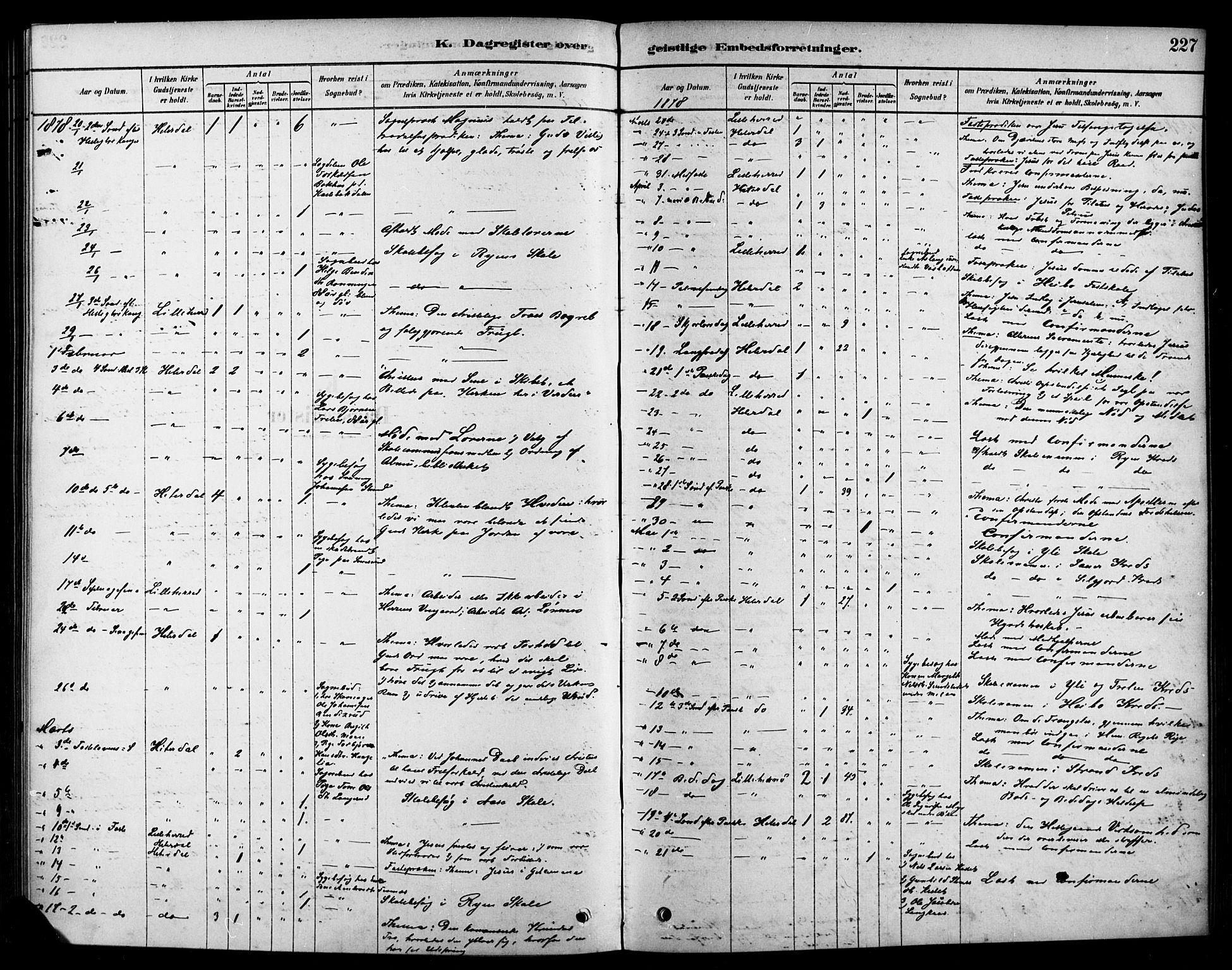 SAKO, Heddal kirkebøker, F/Fa/L0009: Ministerialbok nr. I 9, 1878-1903, s. 227