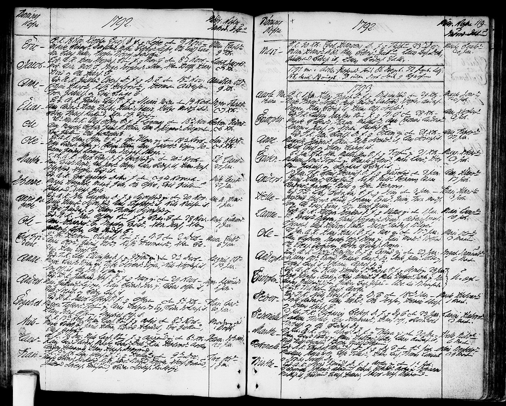 SAO, Asker prestekontor Kirkebøker, F/Fa/L0003: Ministerialbok nr. I 3, 1767-1807, s. 119