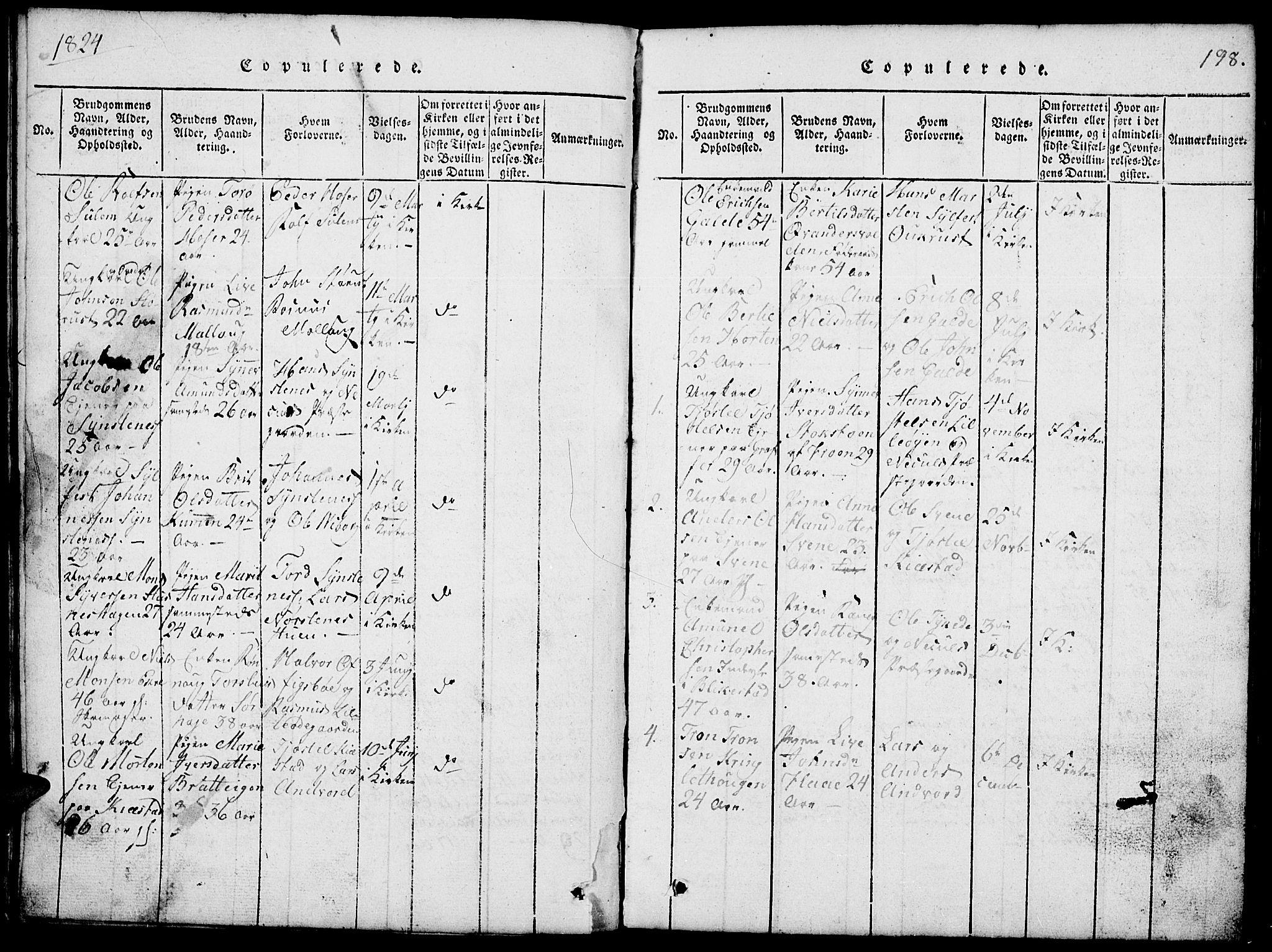 SAH, Lom prestekontor, L/L0001: Klokkerbok nr. 1, 1815-1836, s. 198