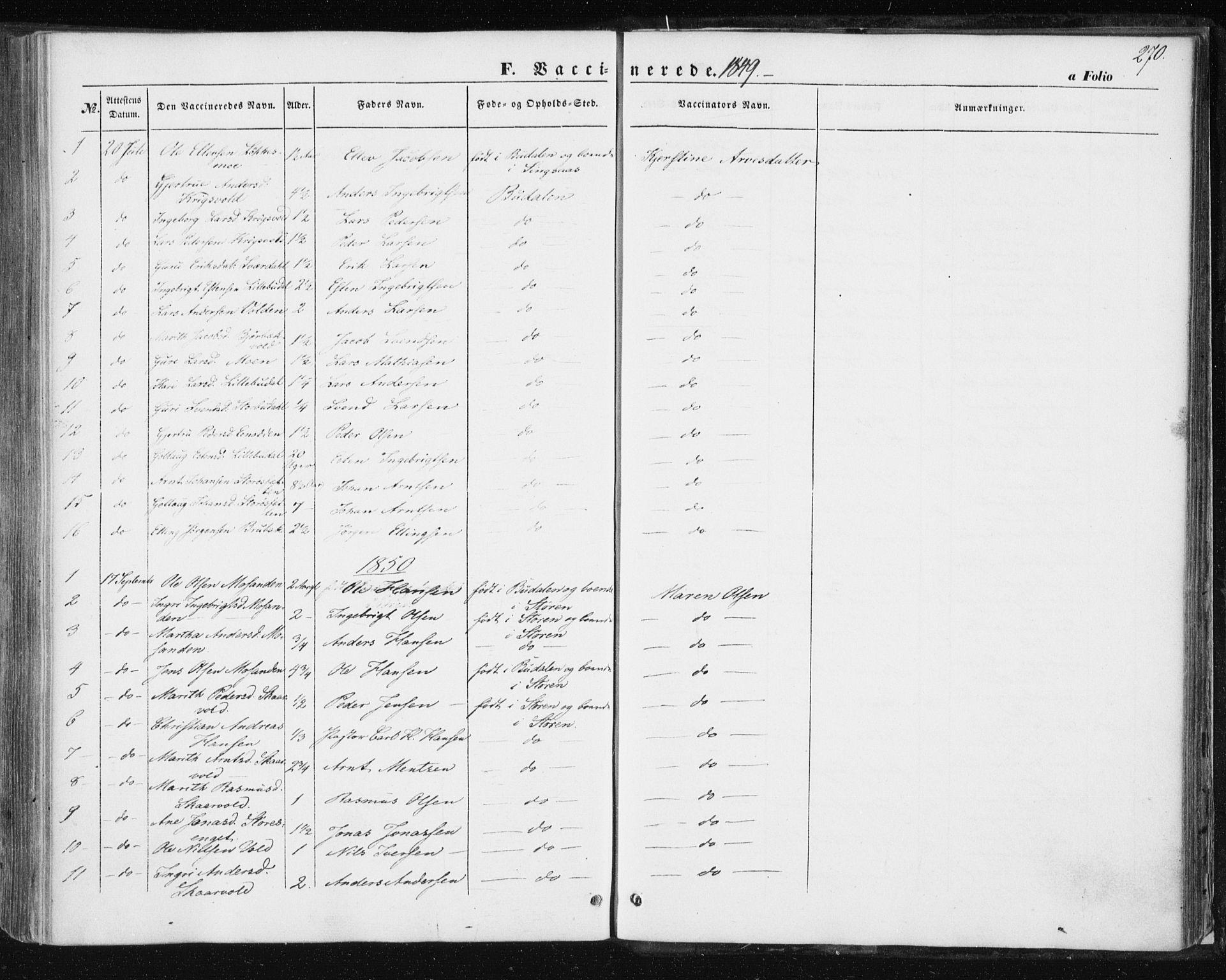 SAT, Ministerialprotokoller, klokkerbøker og fødselsregistre - Sør-Trøndelag, 687/L1000: Ministerialbok nr. 687A06, 1848-1869, s. 270