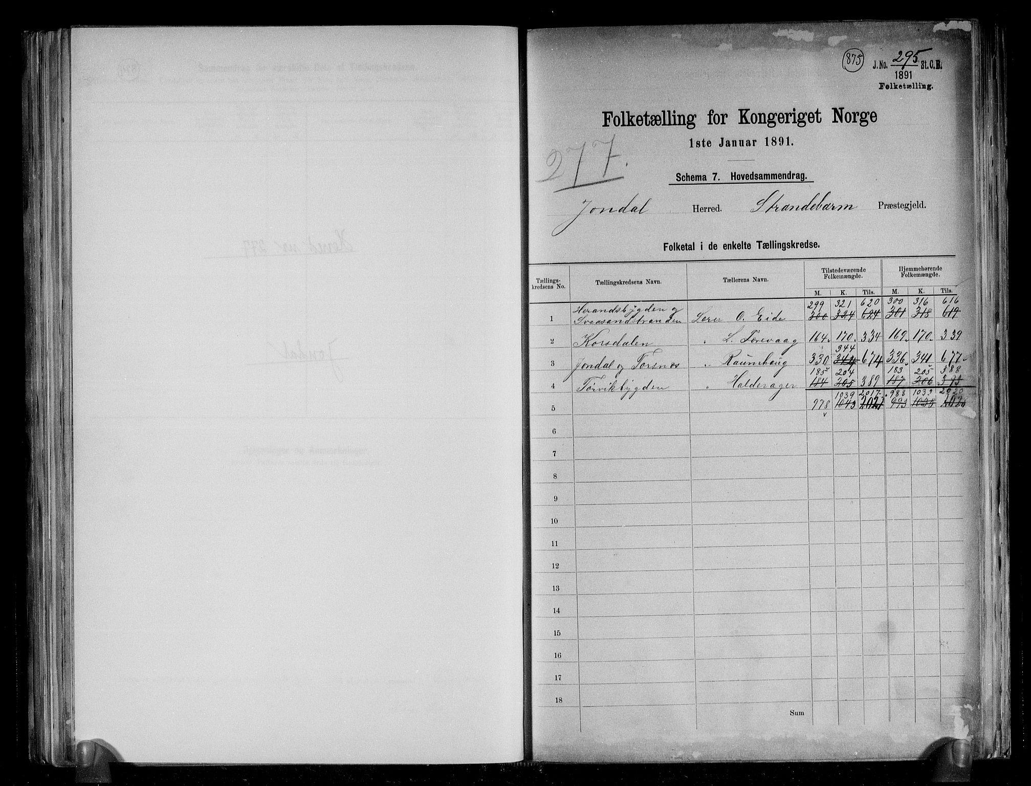 RA, Folketelling 1891 for 1227 Jondal herred, 1891, s. 2