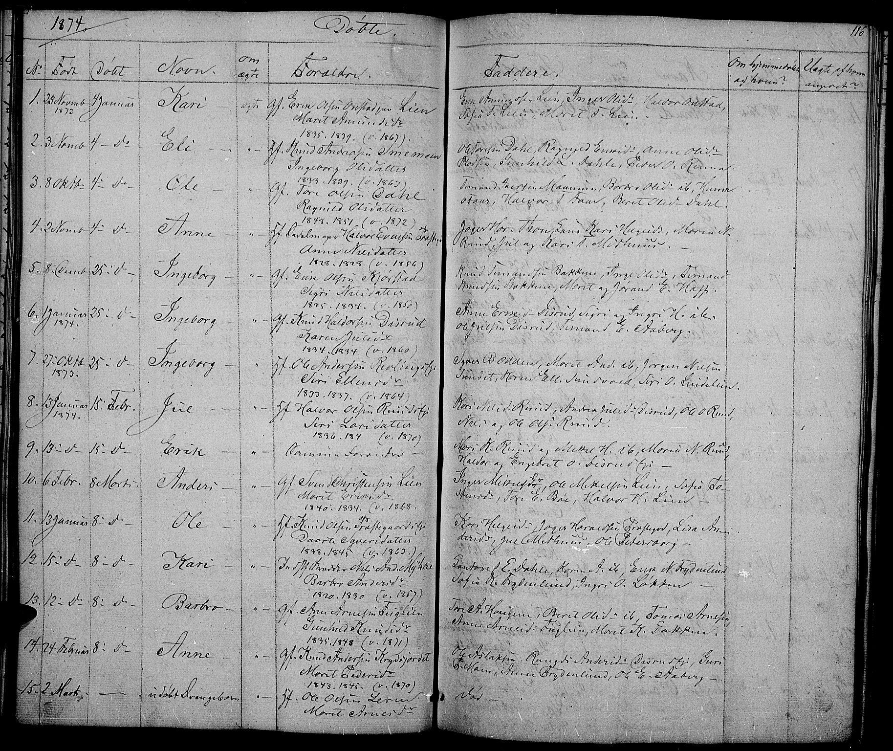 SAH, Nord-Aurdal prestekontor, Klokkerbok nr. 2, 1842-1877, s. 116