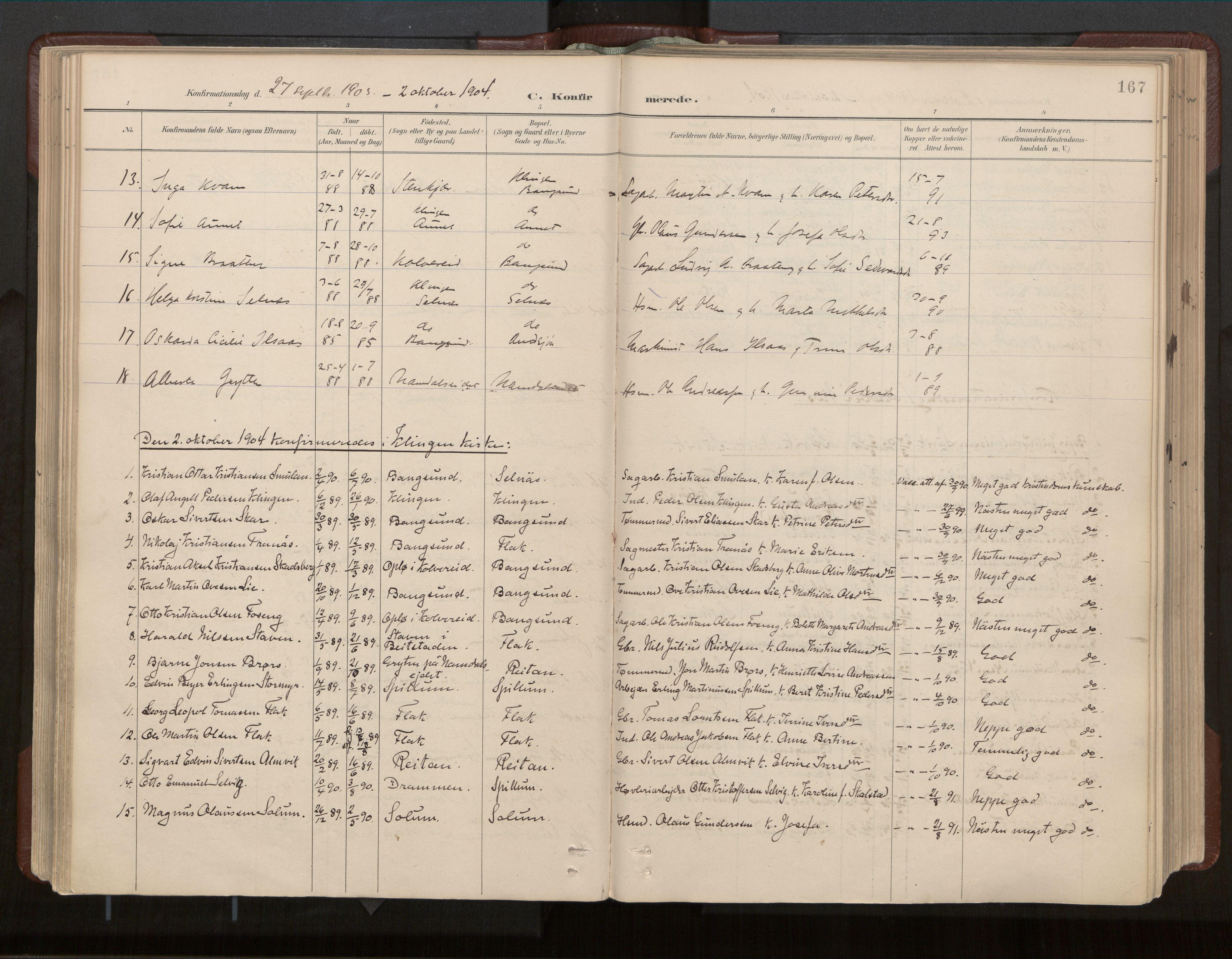SAT, Ministerialprotokoller, klokkerbøker og fødselsregistre - Nord-Trøndelag, 770/L0589: Ministerialbok nr. 770A03, 1887-1929, s. 167
