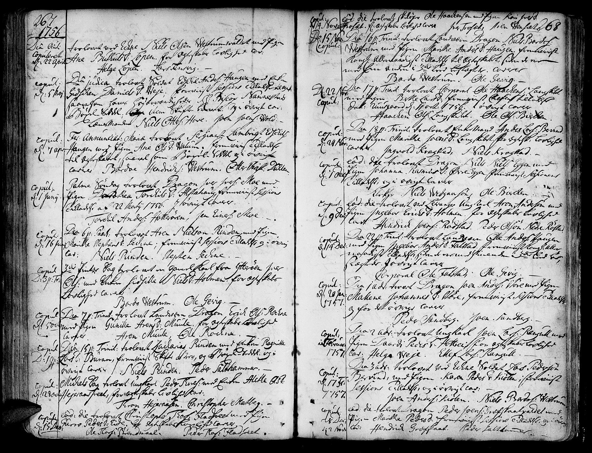 SAT, Ministerialprotokoller, klokkerbøker og fødselsregistre - Nord-Trøndelag, 717/L0141: Ministerialbok nr. 717A01, 1747-1803, s. 267-268