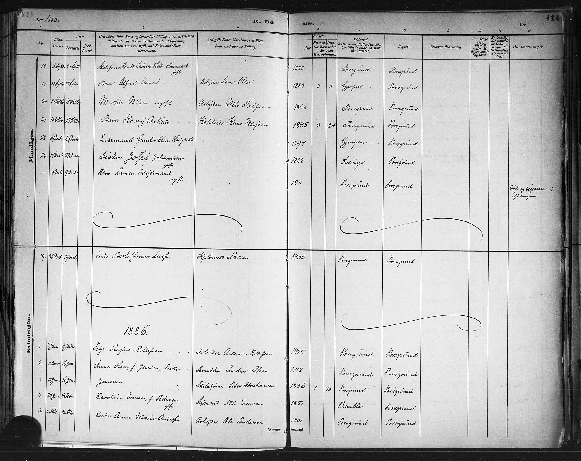 SAKO, Porsgrunn kirkebøker , G/Gb/L0005: Klokkerbok nr. II 5, 1883-1915, s. 414