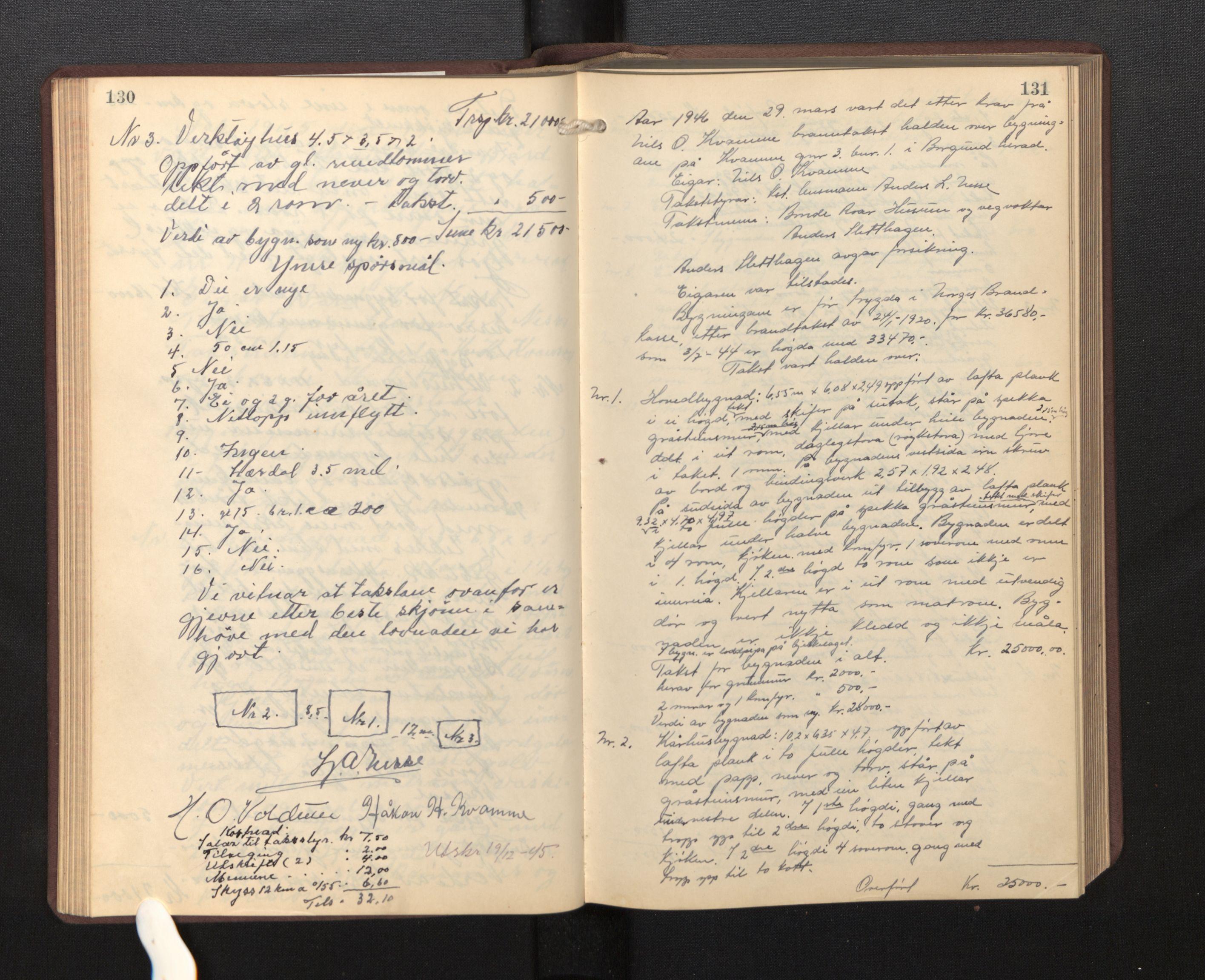 SAB, Lensmannen i Borgund, 0012/L0002: Branntakstprotokoll, 1929-1933, s. 130-131