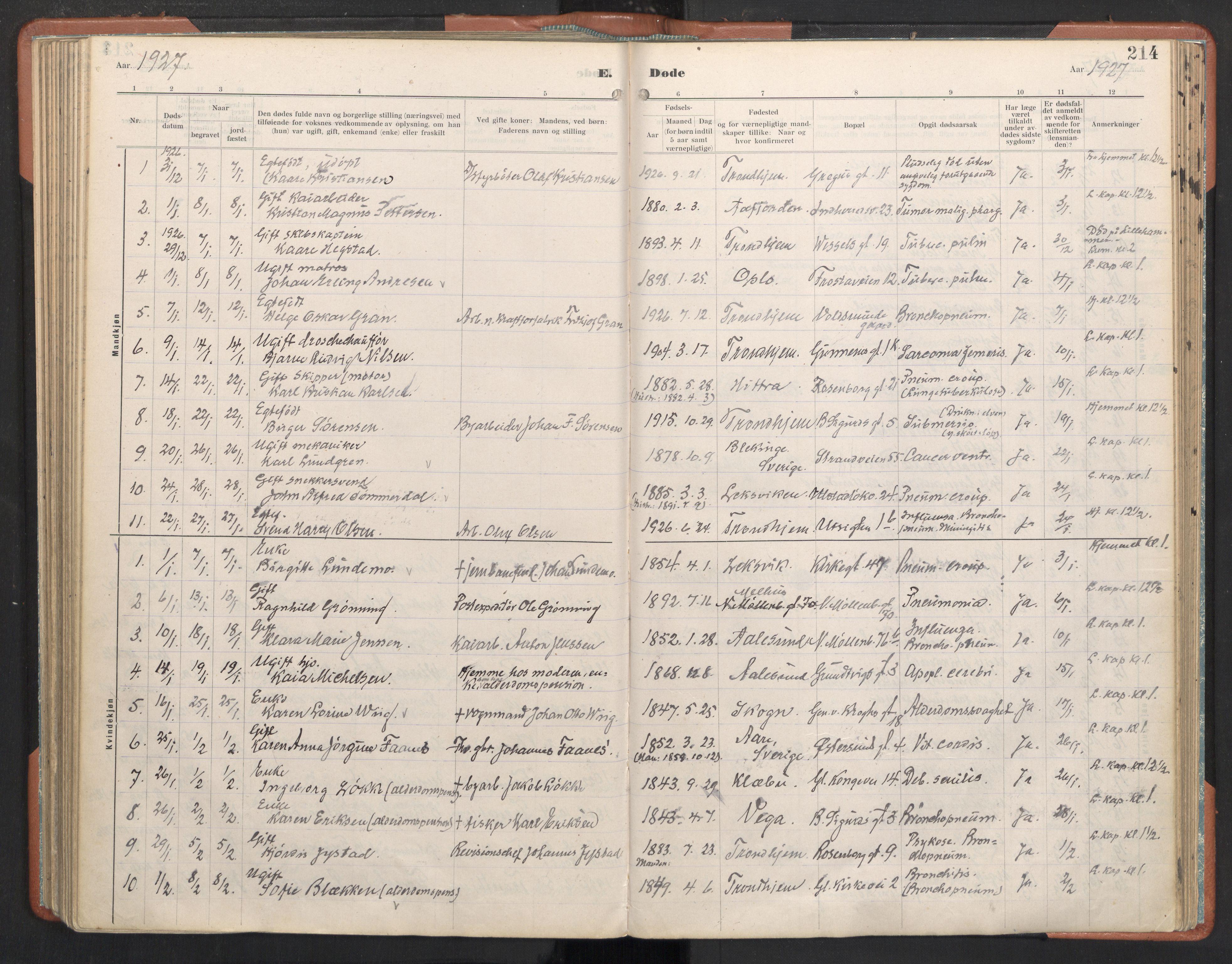 SAT, Ministerialprotokoller, klokkerbøker og fødselsregistre - Sør-Trøndelag, 605/L0245: Ministerialbok nr. 605A07, 1916-1938, s. 214
