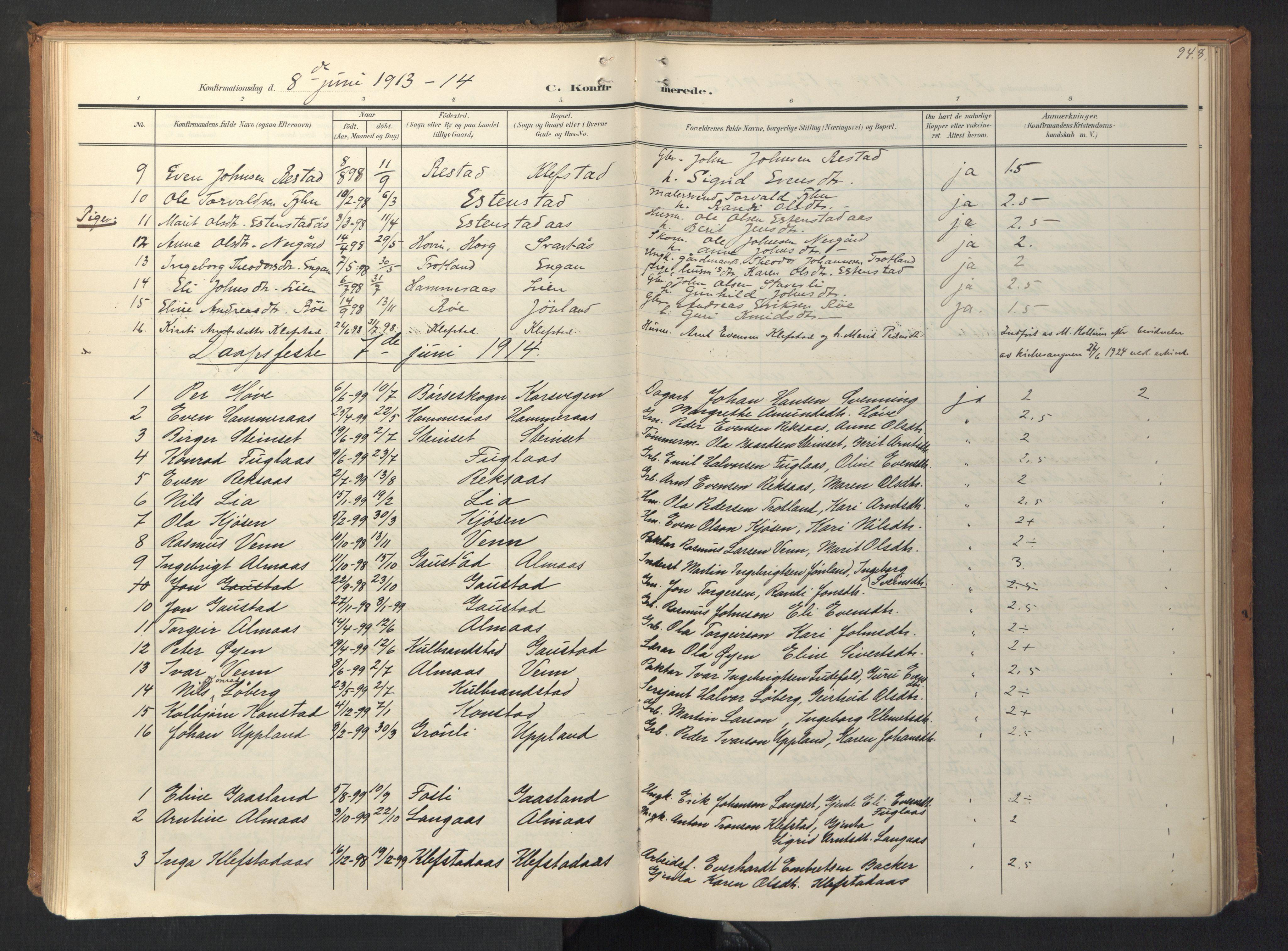 SAT, Ministerialprotokoller, klokkerbøker og fødselsregistre - Sør-Trøndelag, 694/L1128: Ministerialbok nr. 694A02, 1906-1931, s. 94
