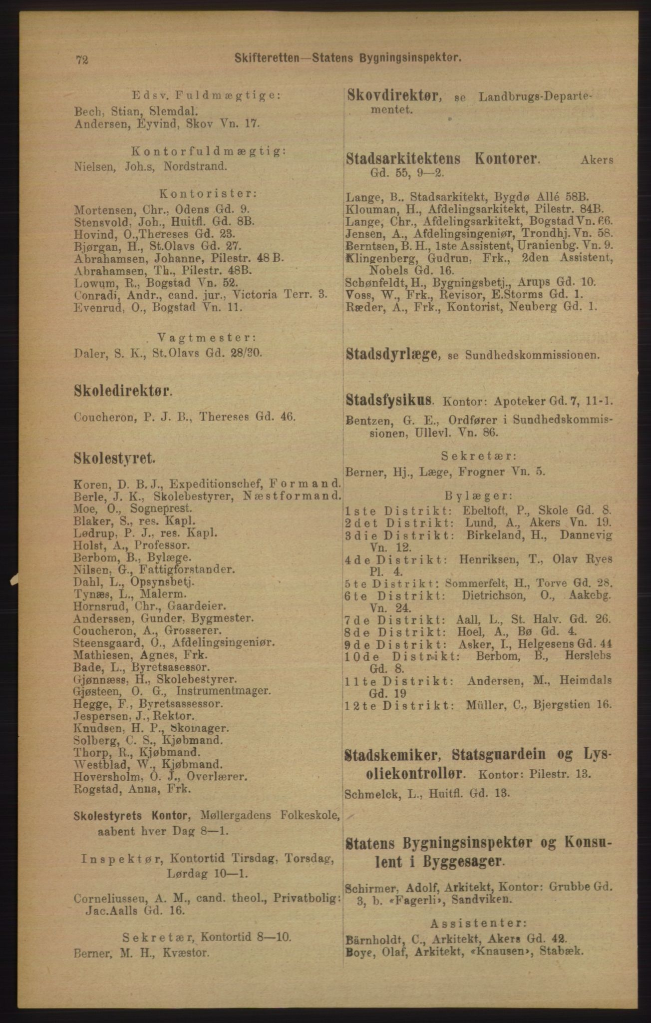 PUBL, Kristiania/Oslo adressebok, 1906, s. 72